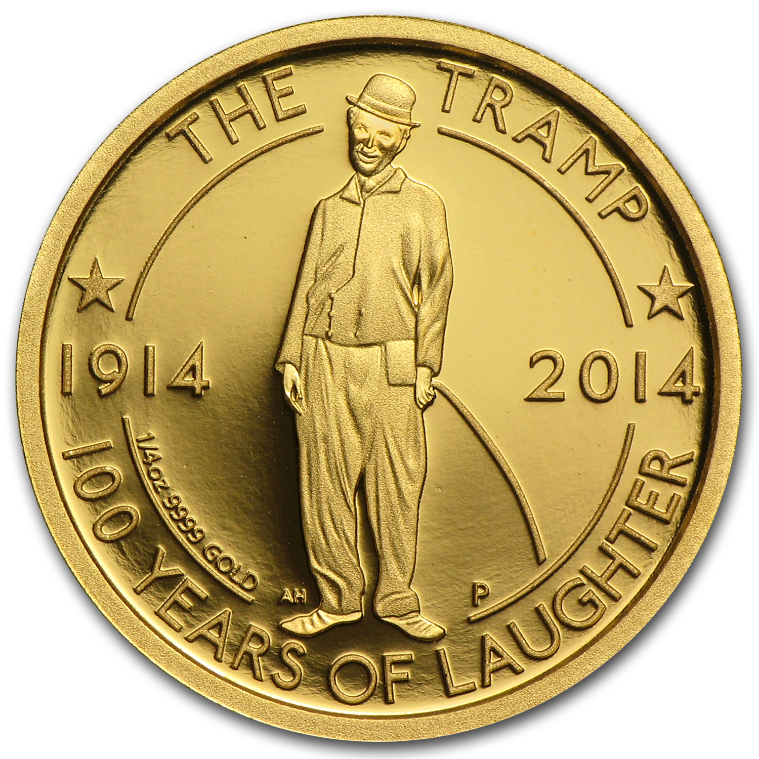 2014 1/4 oz Proof Gold Charlie Chaplin 100 Years of Laughter