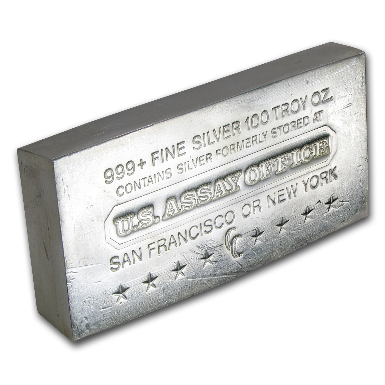 100 Oz Silver Bar U S Assay Office Struck 100 Oz