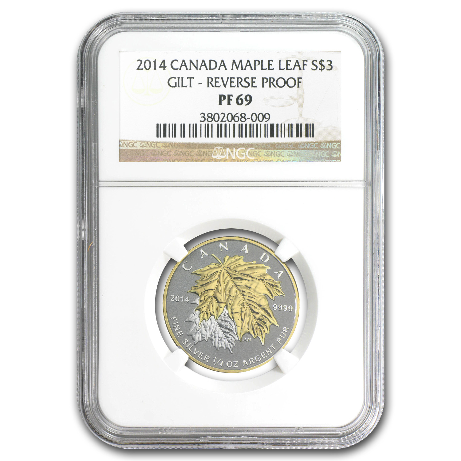 2014 Canada 1/4 oz Silver $3 Maple Leaf Gilt PF-69 NGC