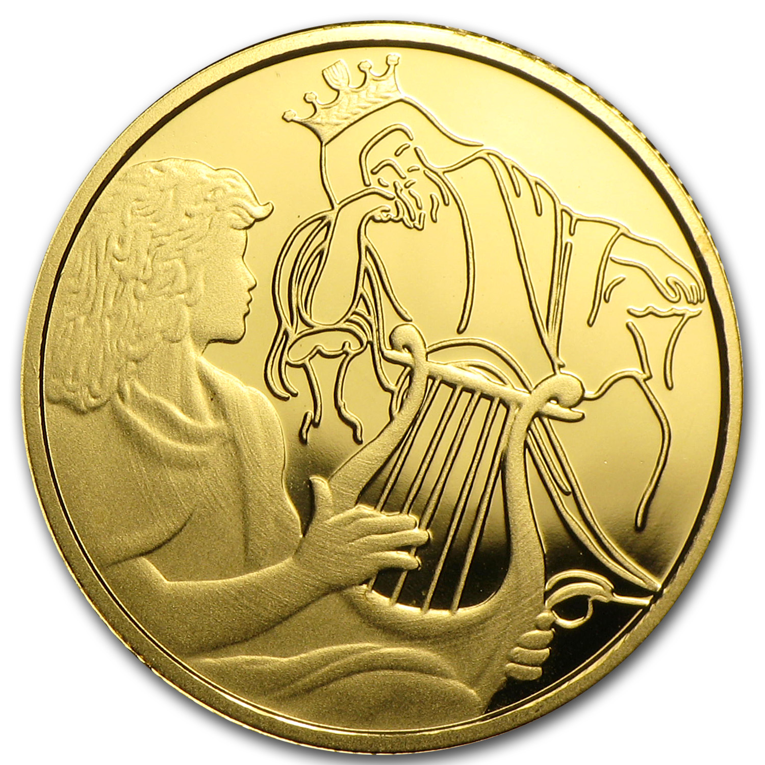 2013 Israel 1/25 oz Proof Gold David Playing for Saul