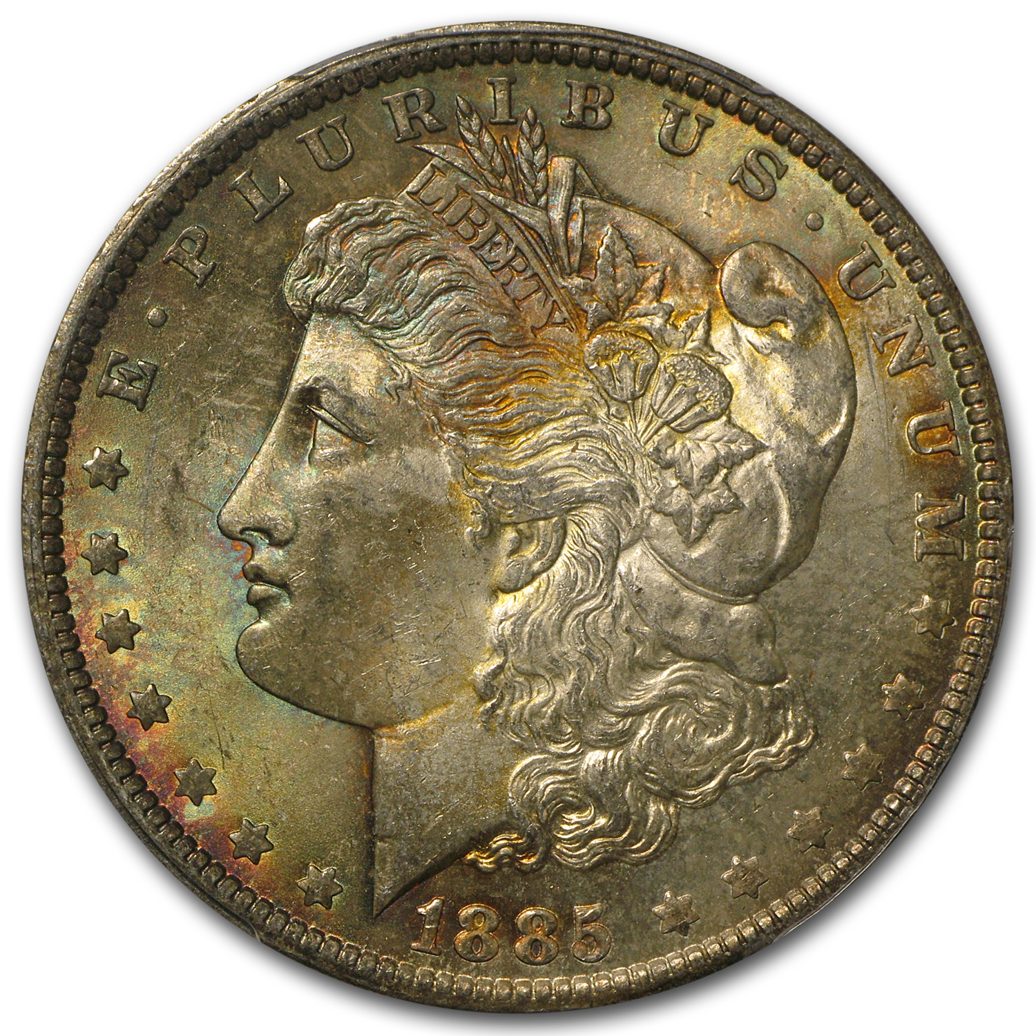 1885-O Morgan Dollar MS-63 PCGS (Attractively Toned Rev, CAC)