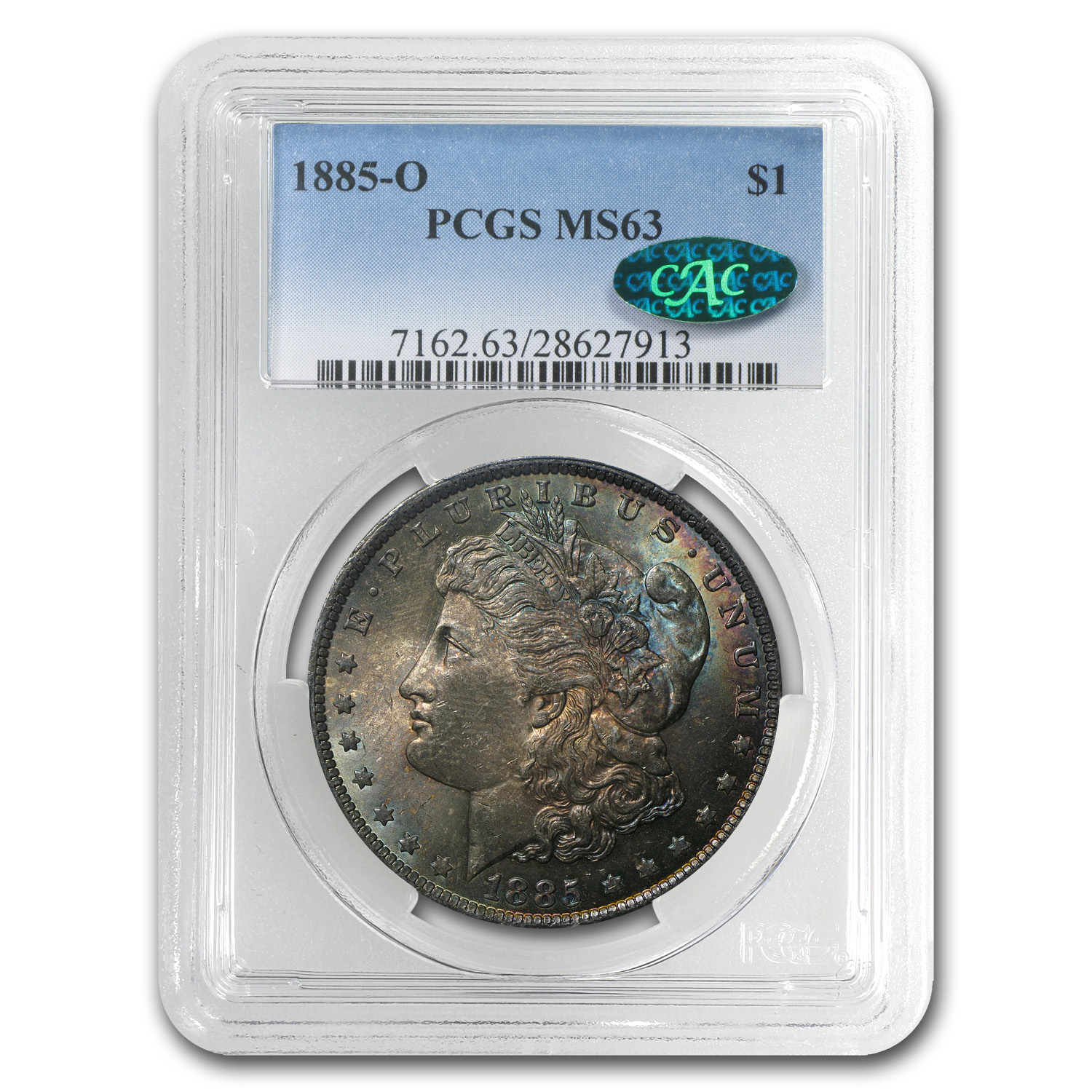 1885-O Morgan Dollar MS-63 PCGS -Attractive Chestnut Toning- CAC