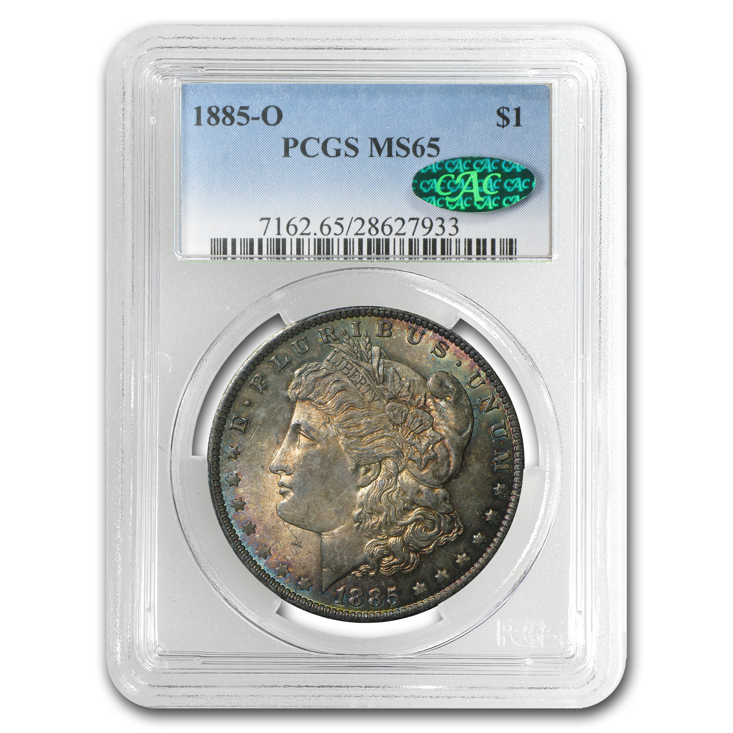 1885-O Morgan Dollar MS-65 PCGS (Dramatic Tawny Toning, CAC)