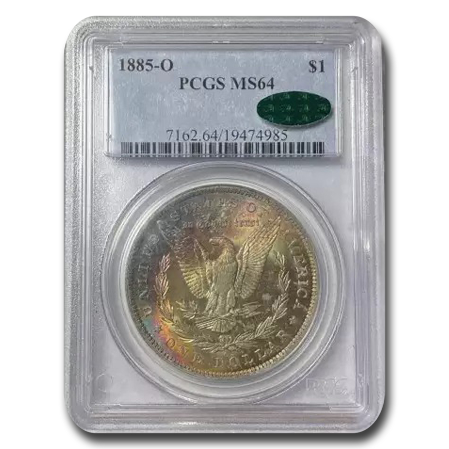 1885-O Morgan Dollar MS-64 PCGS (Prismatic Toning, CAC)