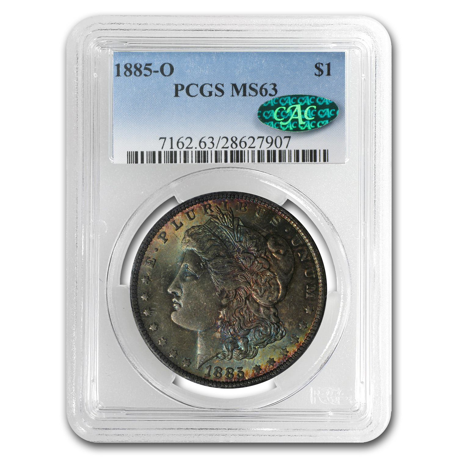 1885-O Morgan Dollar MS-63 PCGS (Elegant Toning, CAC)