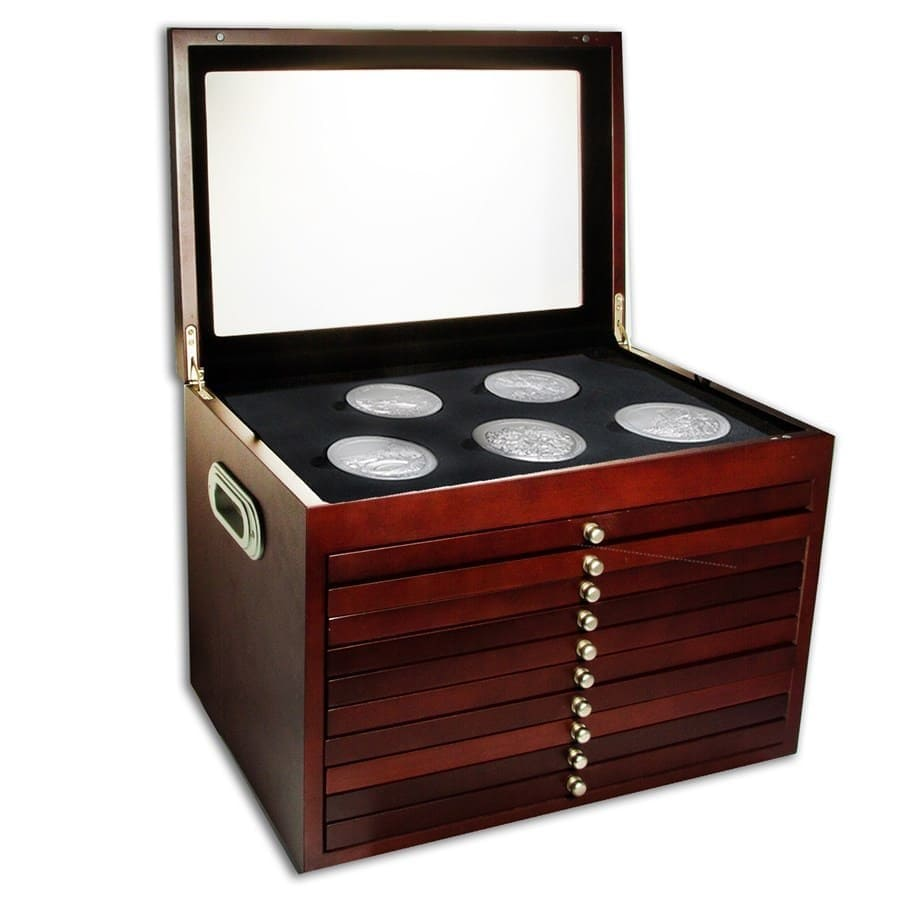 10-Drawer Custom Wood Display Box for 56 - Coin ATB Set