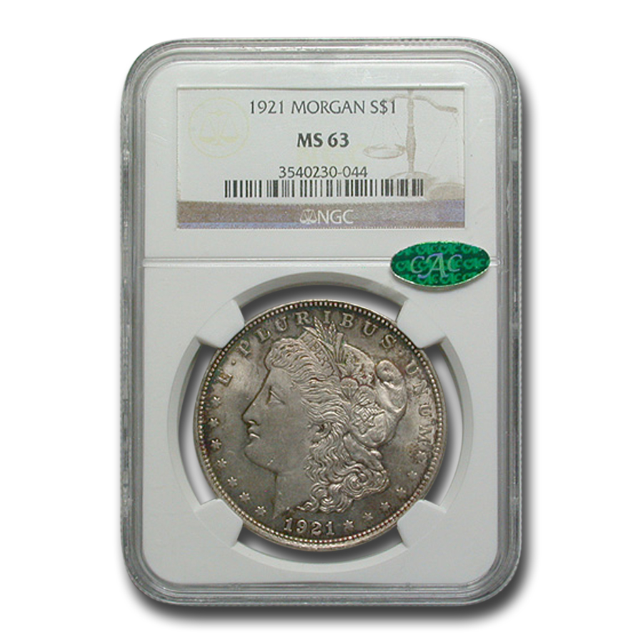 1921 Morgan Dollar MS-63 NGC (CAC, Attractive Toning)