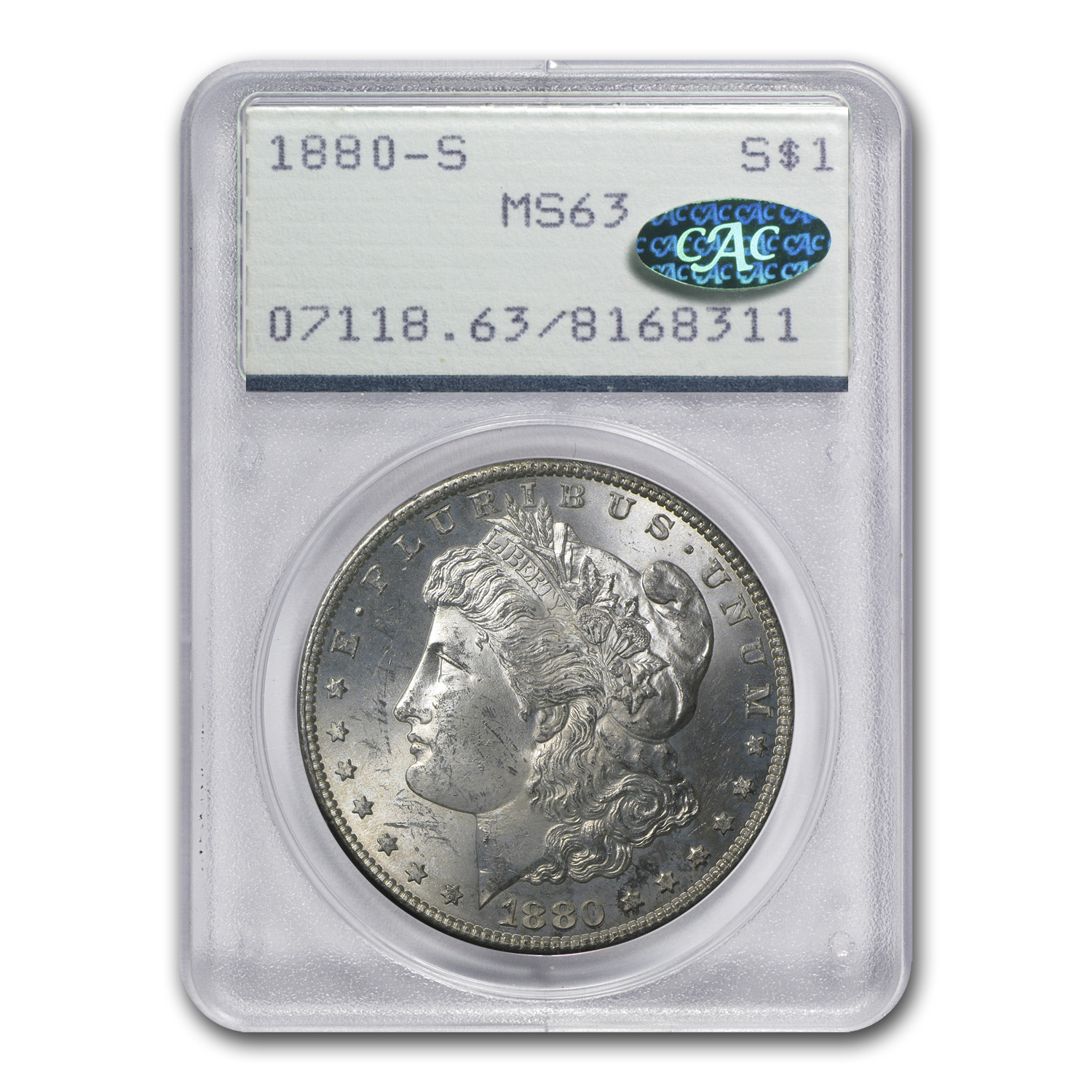 1880-S Morgan Dollar MS-63 PCGS (CAC, Attractive Toning)