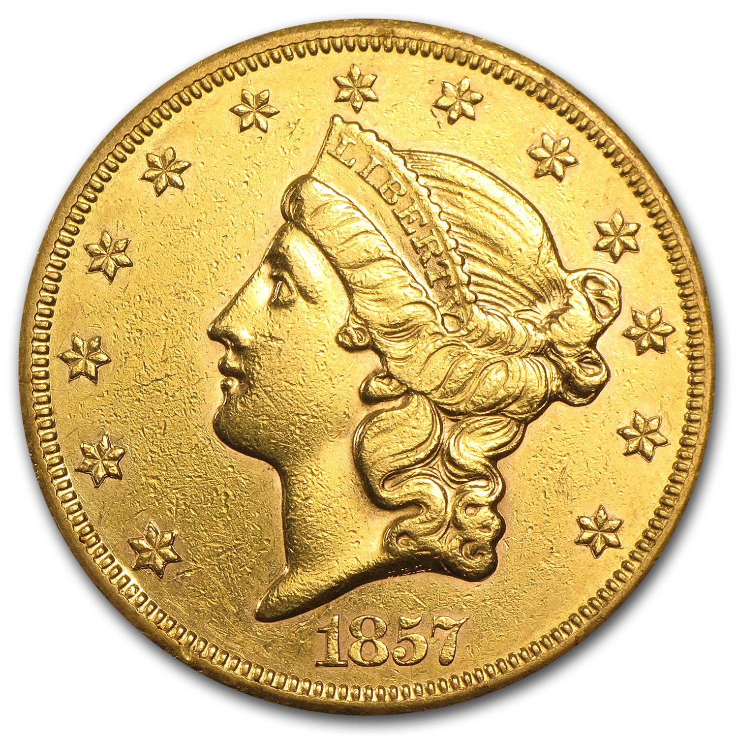 1857-S $20 Liberty Gold Double Eagle AU Details (Cleaned)
