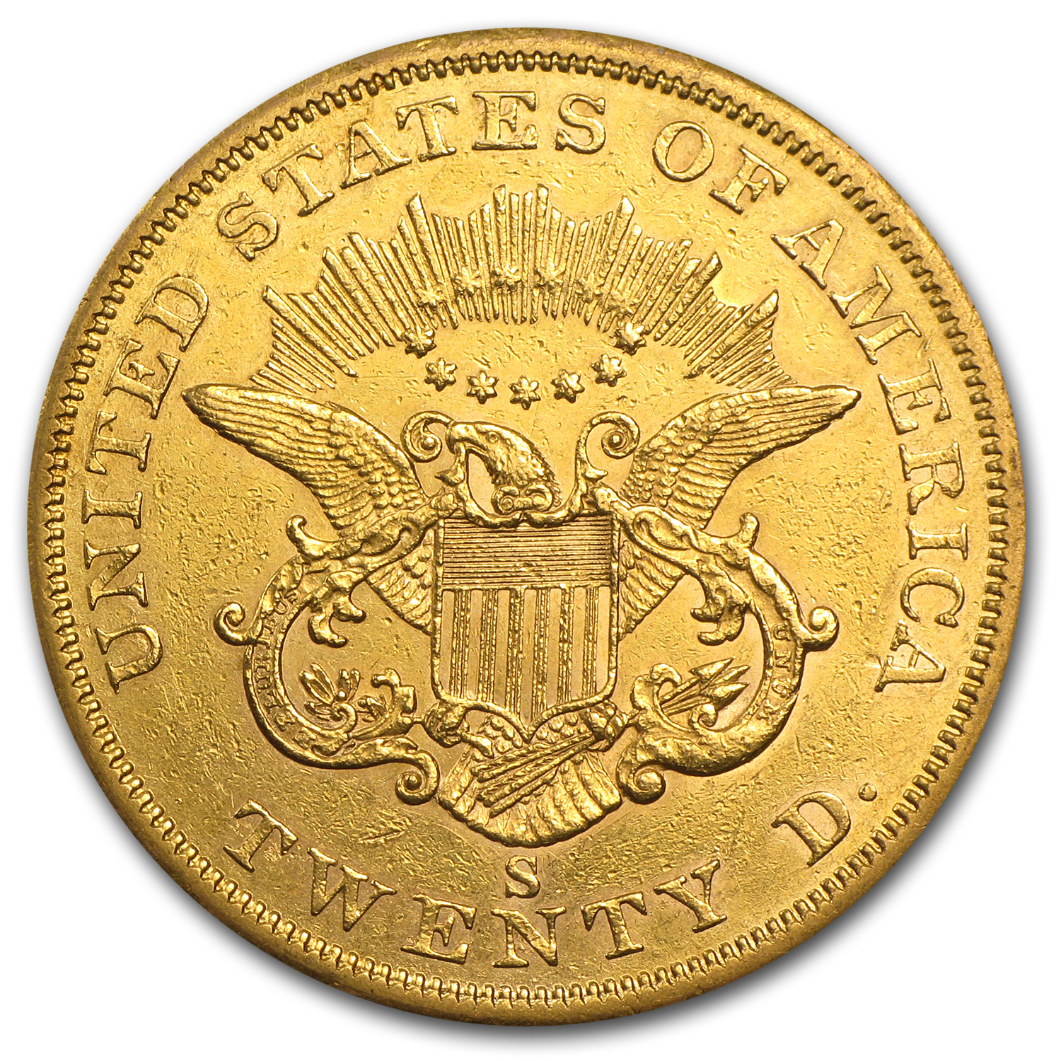 1857-S $20 Liberty Gold Double Eagle - AU Details - (Cleaned)