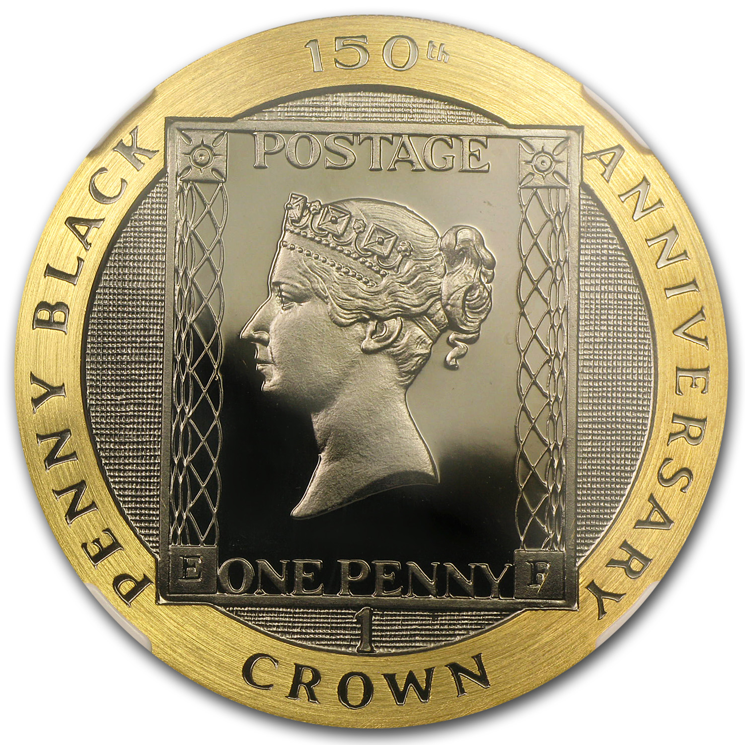 1990 Isle of Man 1 Crown Proof Gold Penny Black PF-66 NGC