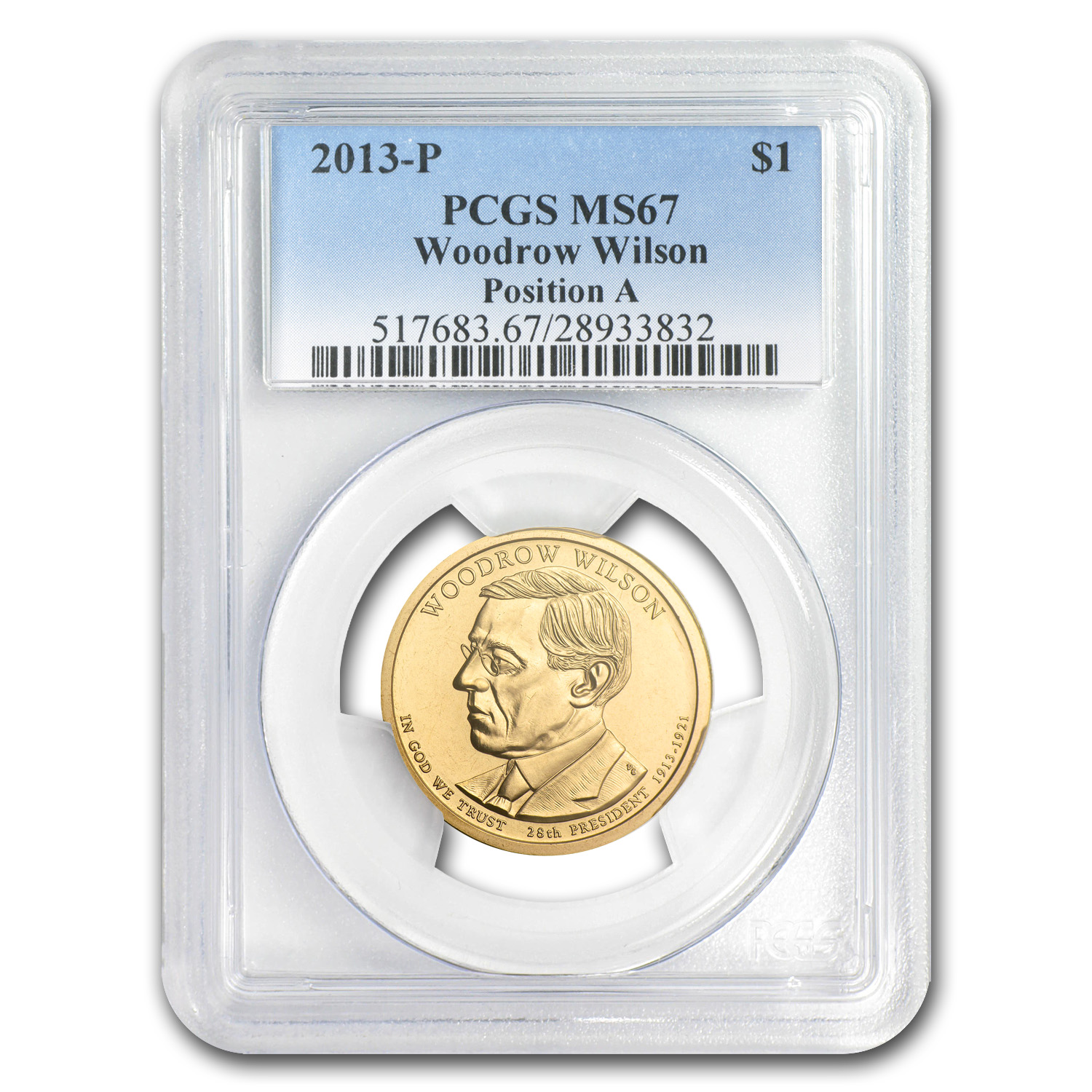 2013-P A Position Woodrow Wilson Presidential Dollar MS-67 PCGS