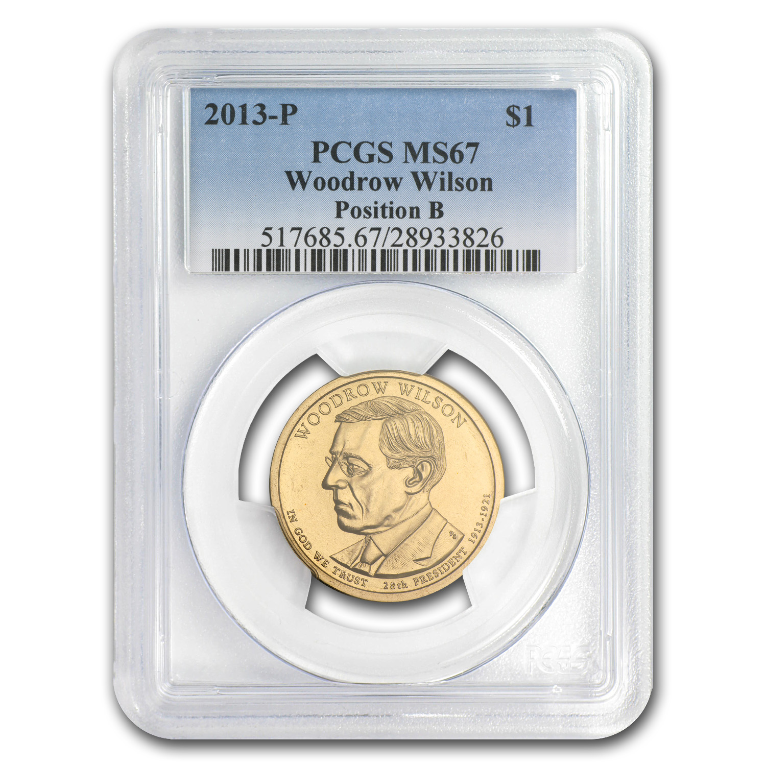 2013-P B Position Woodrow Wilson Presidential Dollar MS-67 PCGS
