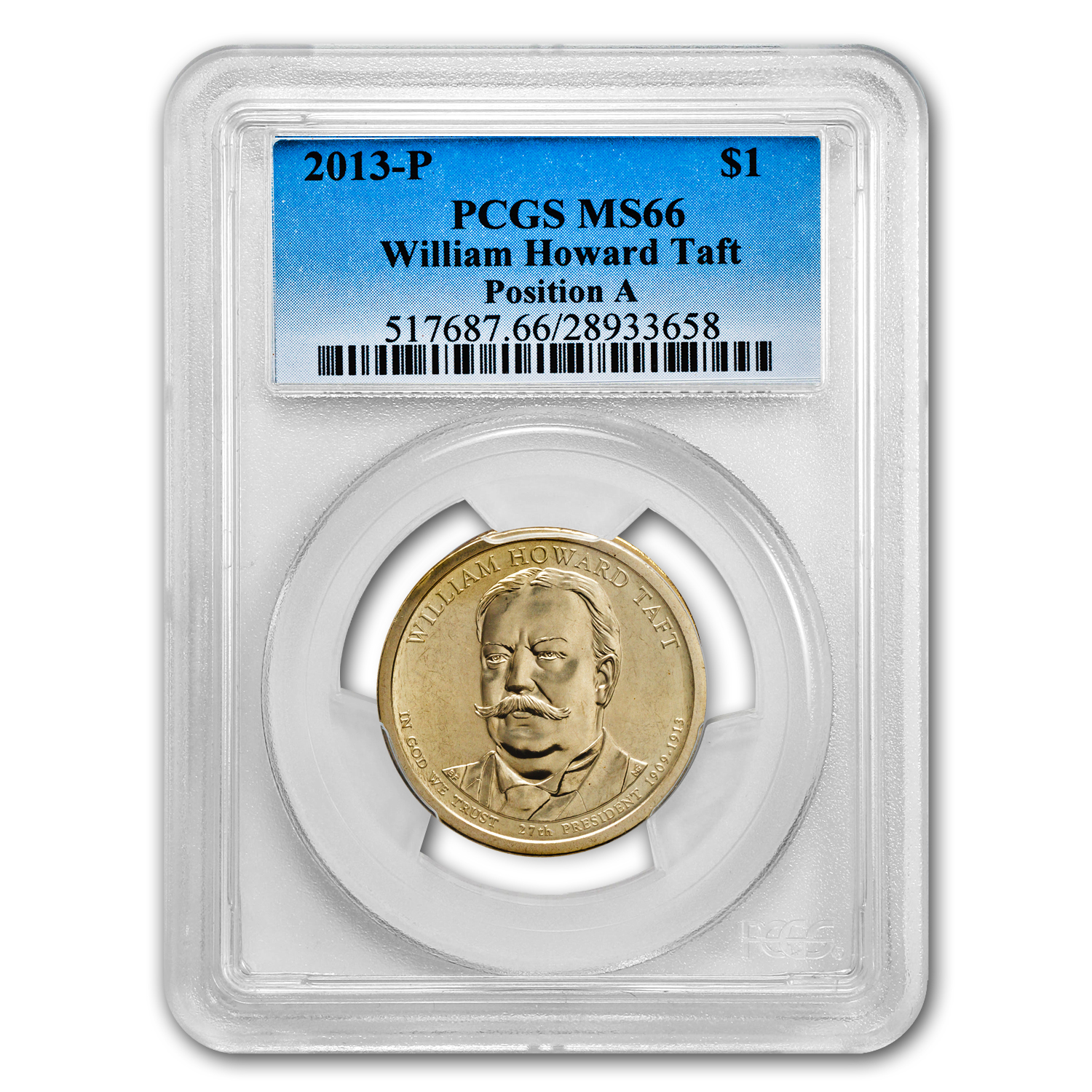 2013-P A Position William H. Taft Presidential Dollar MS-66 PCGS