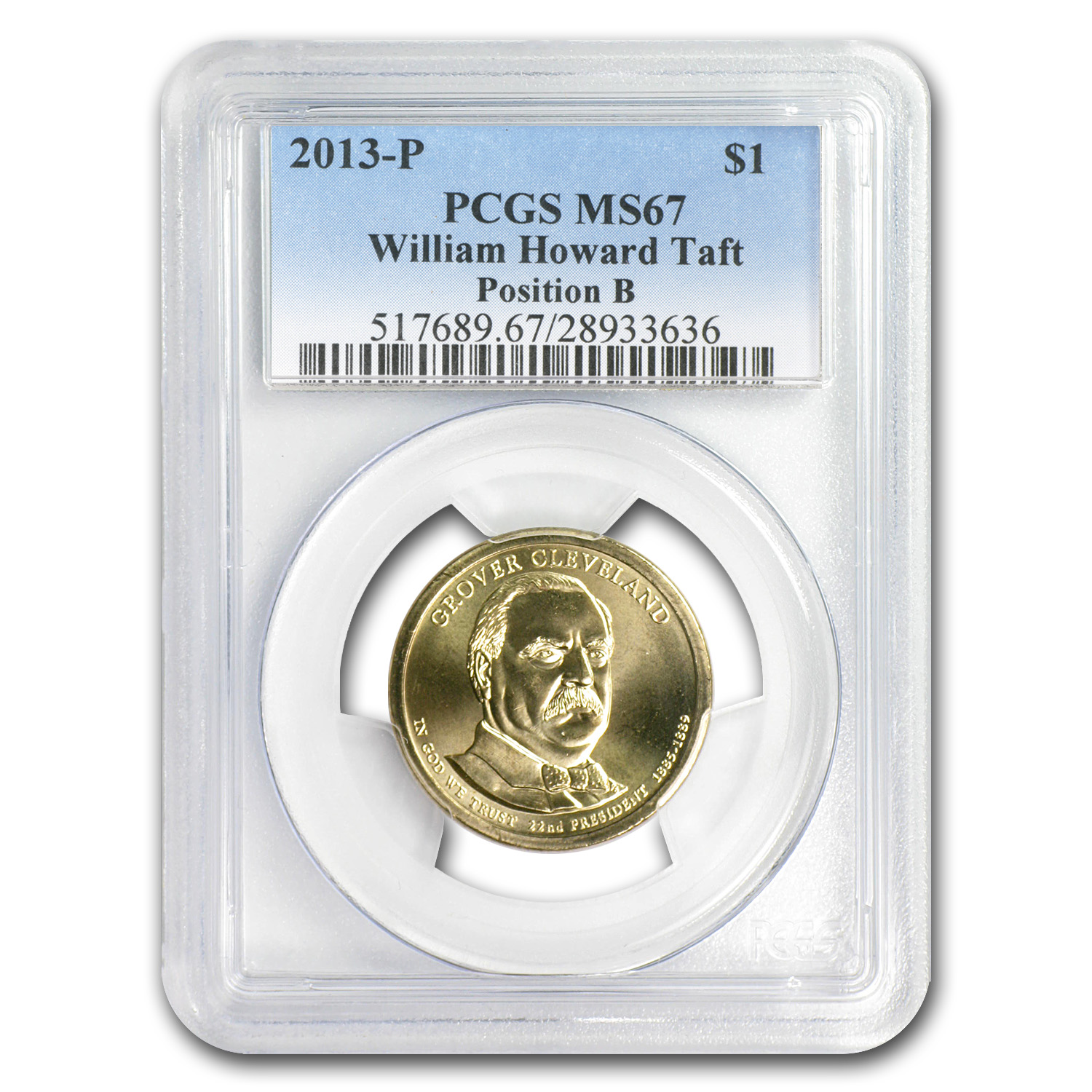 2013-P William H. Taft B Position Presidential Dollar MS-67 PCGS