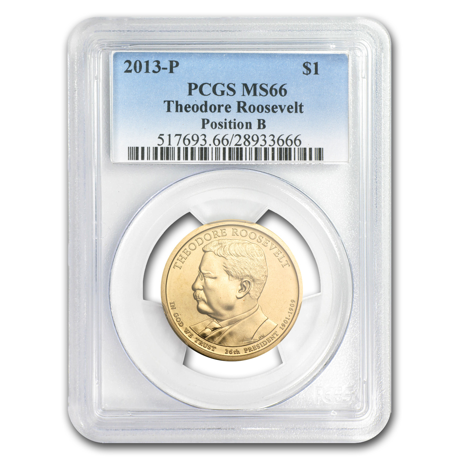2013P Theodore Roosevelt Position B Presidential Dollar MS66 PCGS