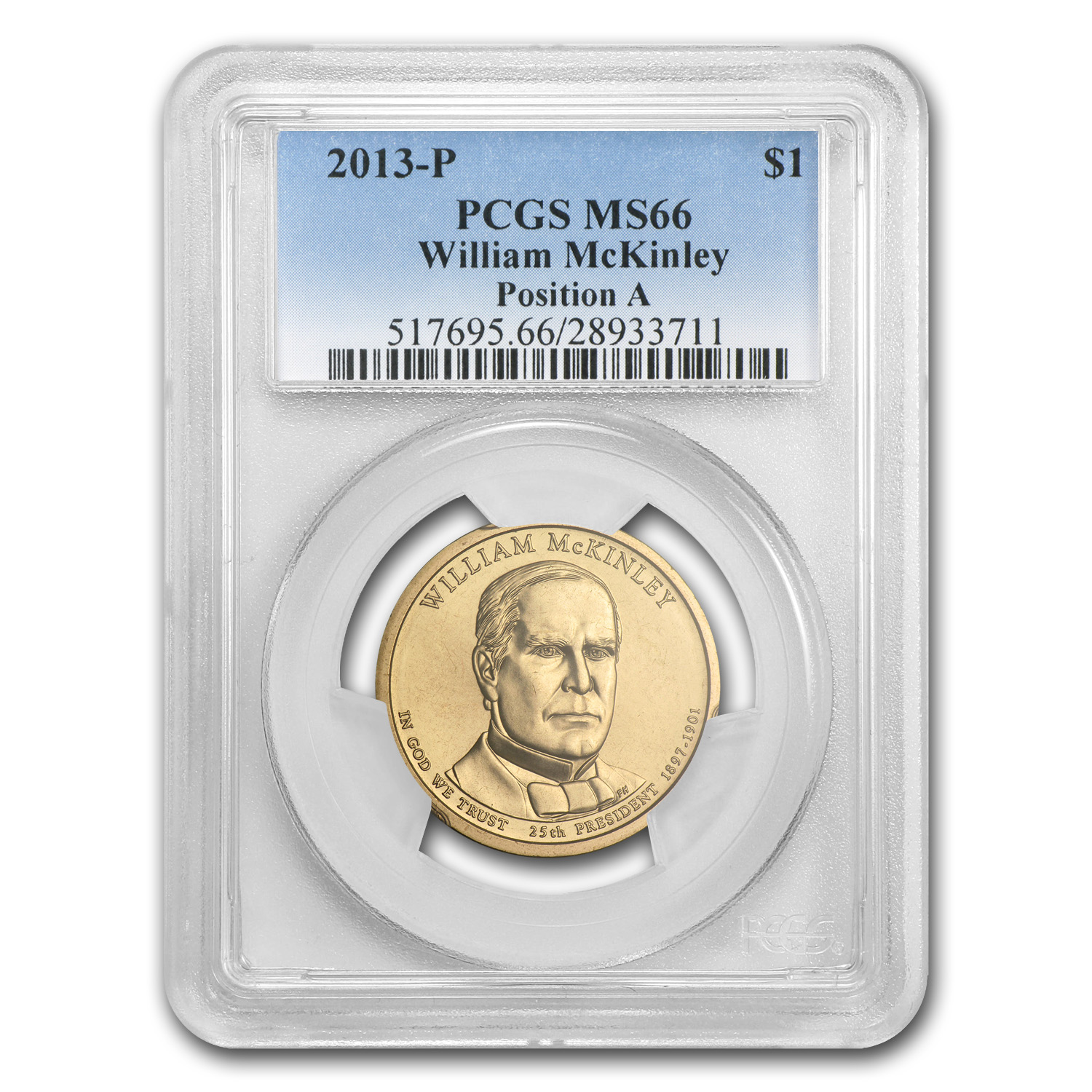 2013-P William McKinley Position A Presidential Dollar MS-66 PCGS