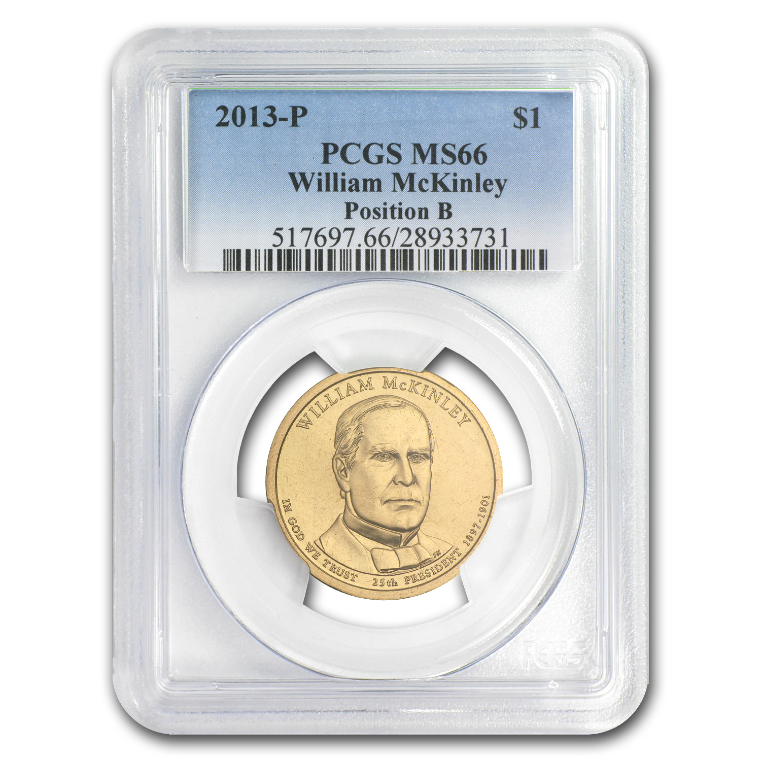 2013-P Wm McKinley Presidential Dollar MS-66 PCGS (Position B)
