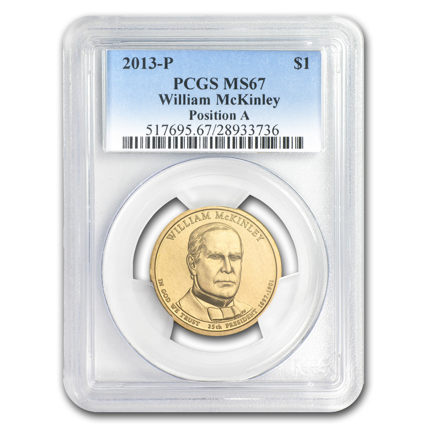 2013-P William McKinley Position A Presidential Dollar MS-67 PCGS