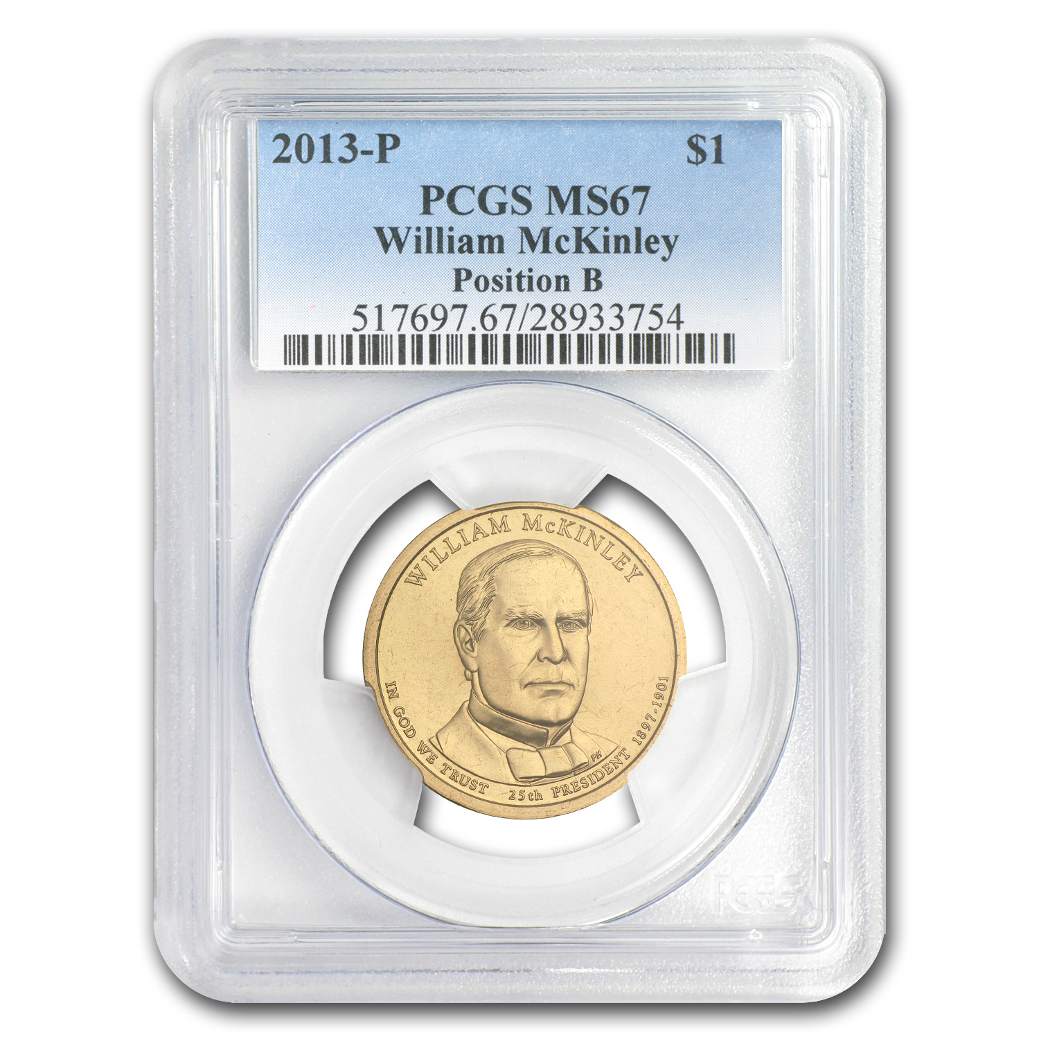 2013-P B Position William McKinley Presidential Dollar MS-67 PCGS