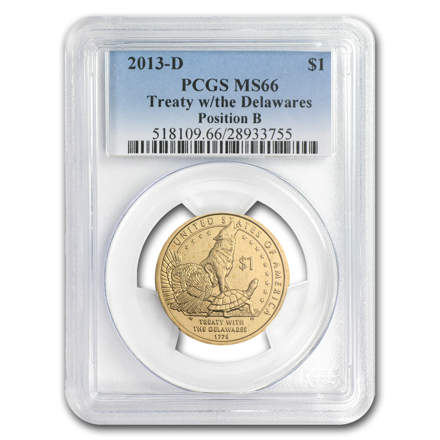 2013-D Native American Sacagawea Dollar Position B MS-66 PCGS