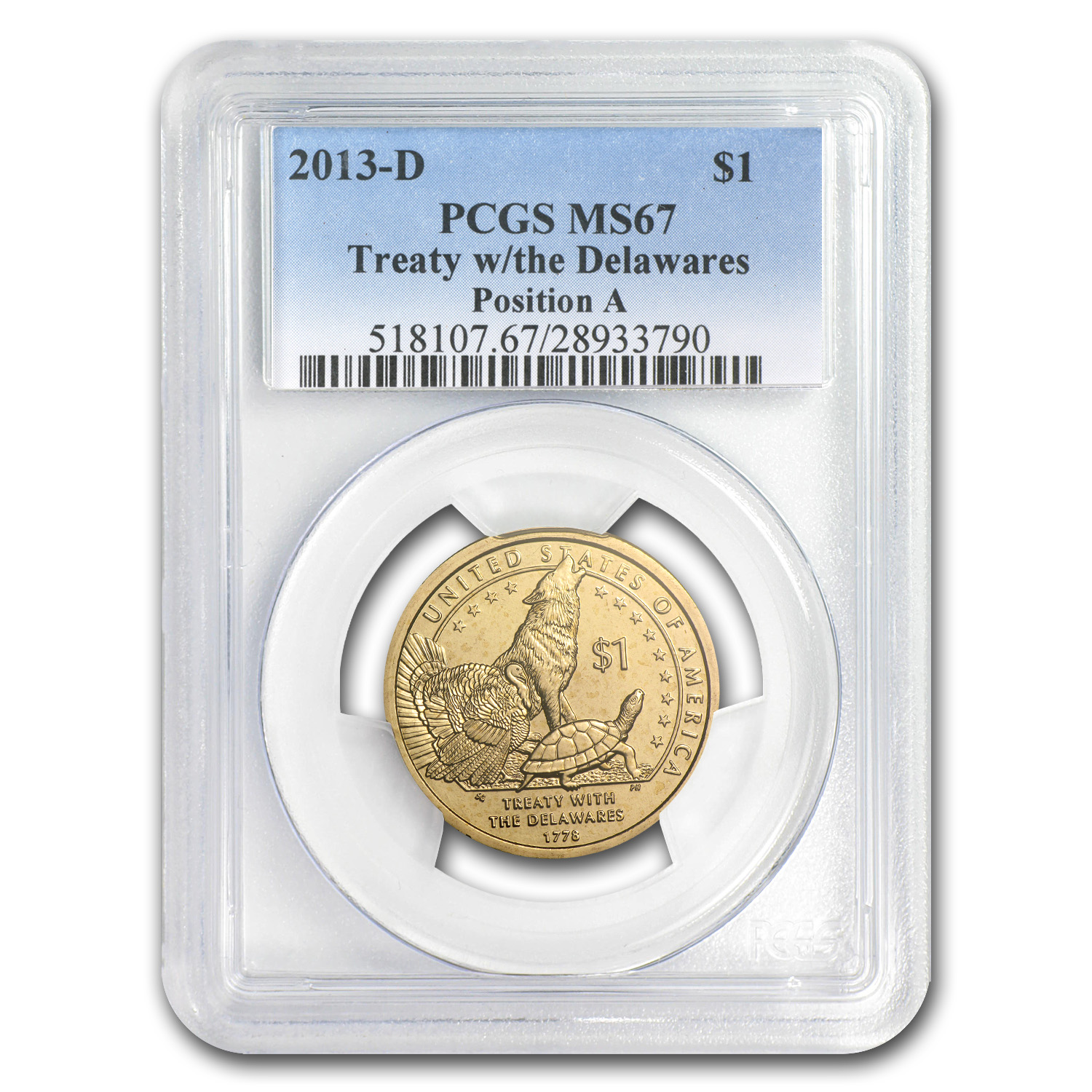 2013-D Native American Sacagawea Dollar Position A MS-67 PCGS
