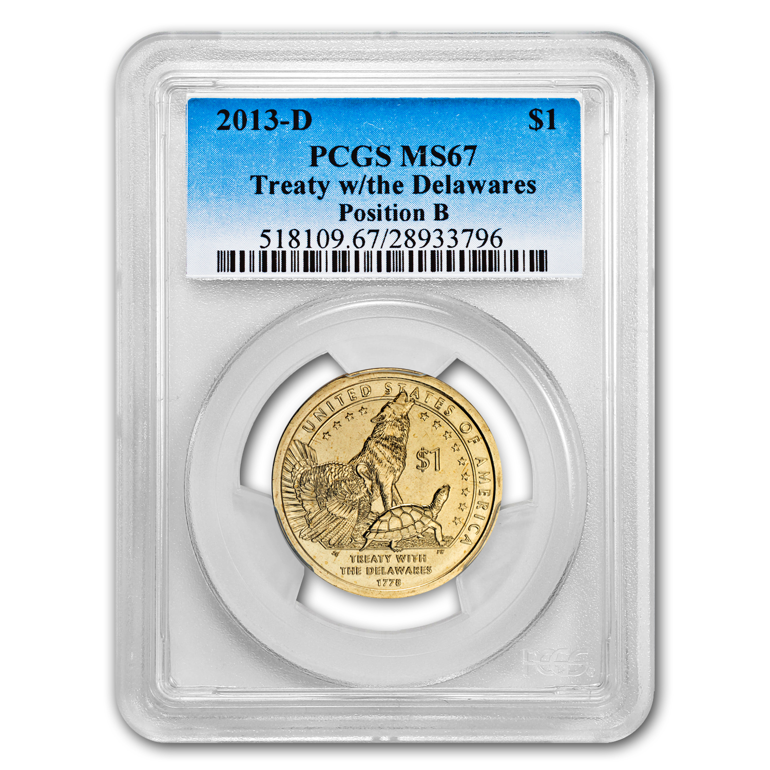 2013-D Native American Sacagawea Dollar Position B MS-67 PCGS