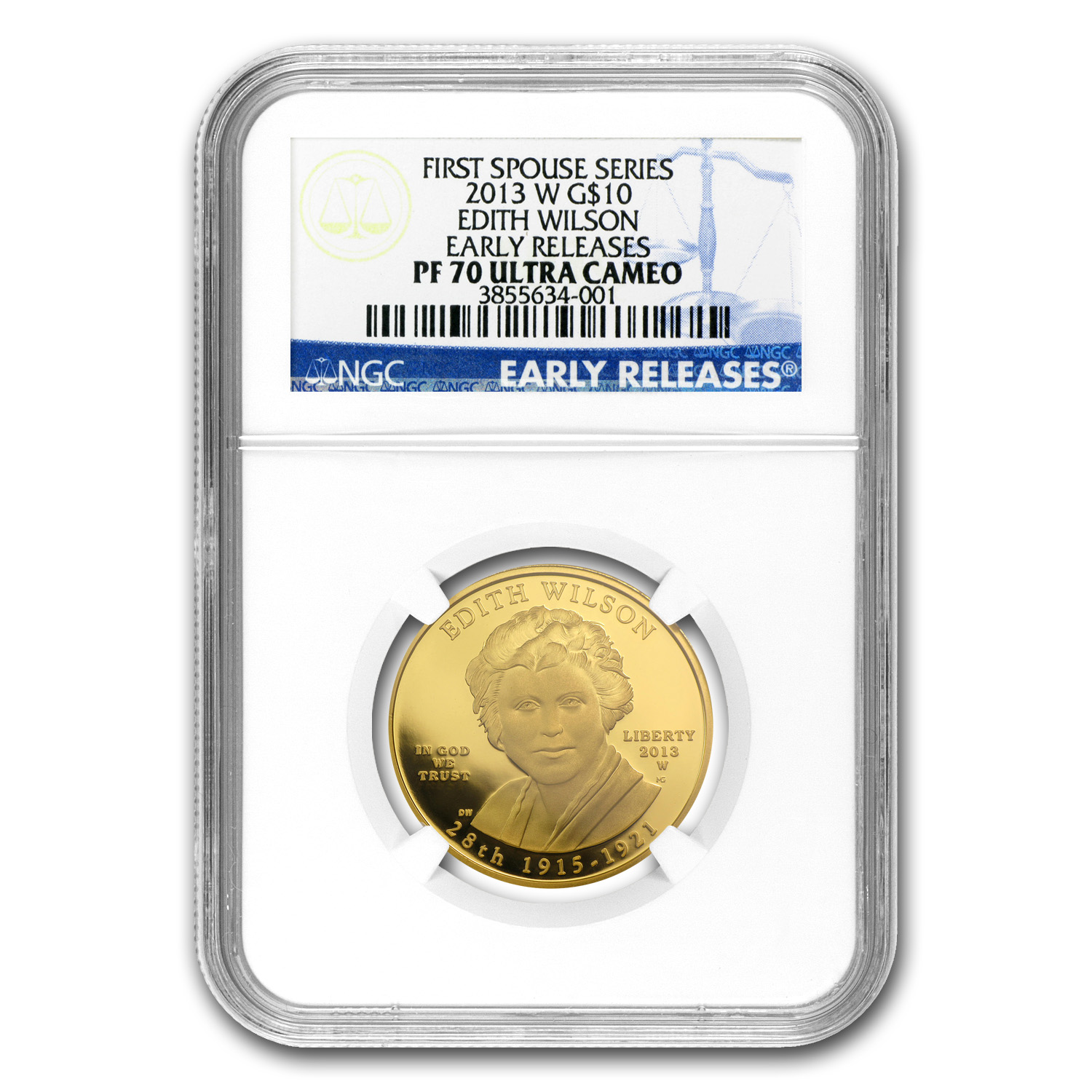 2013-W 1/2 oz Proof Gold Edith Wilson PF-70 NGC (ER)