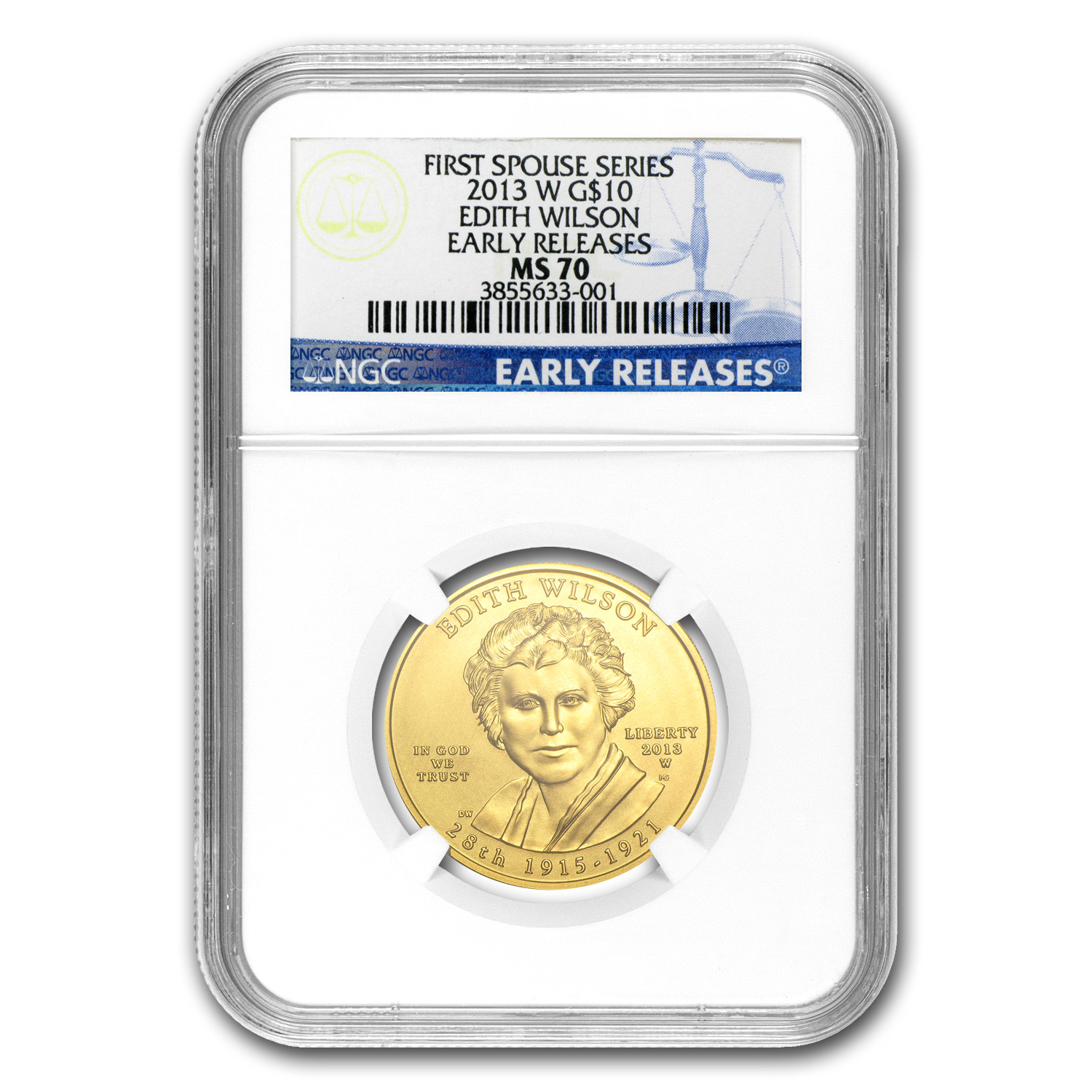 2013-W 1/2 oz Gold Edith Wilson MS-70 NGC (Early Release)