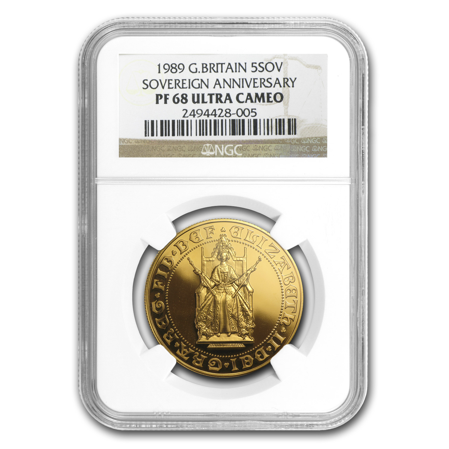 Great Britain 1989 Gold 5 Pound 500th Anniv. Sov. PF-68 UCAM NGC