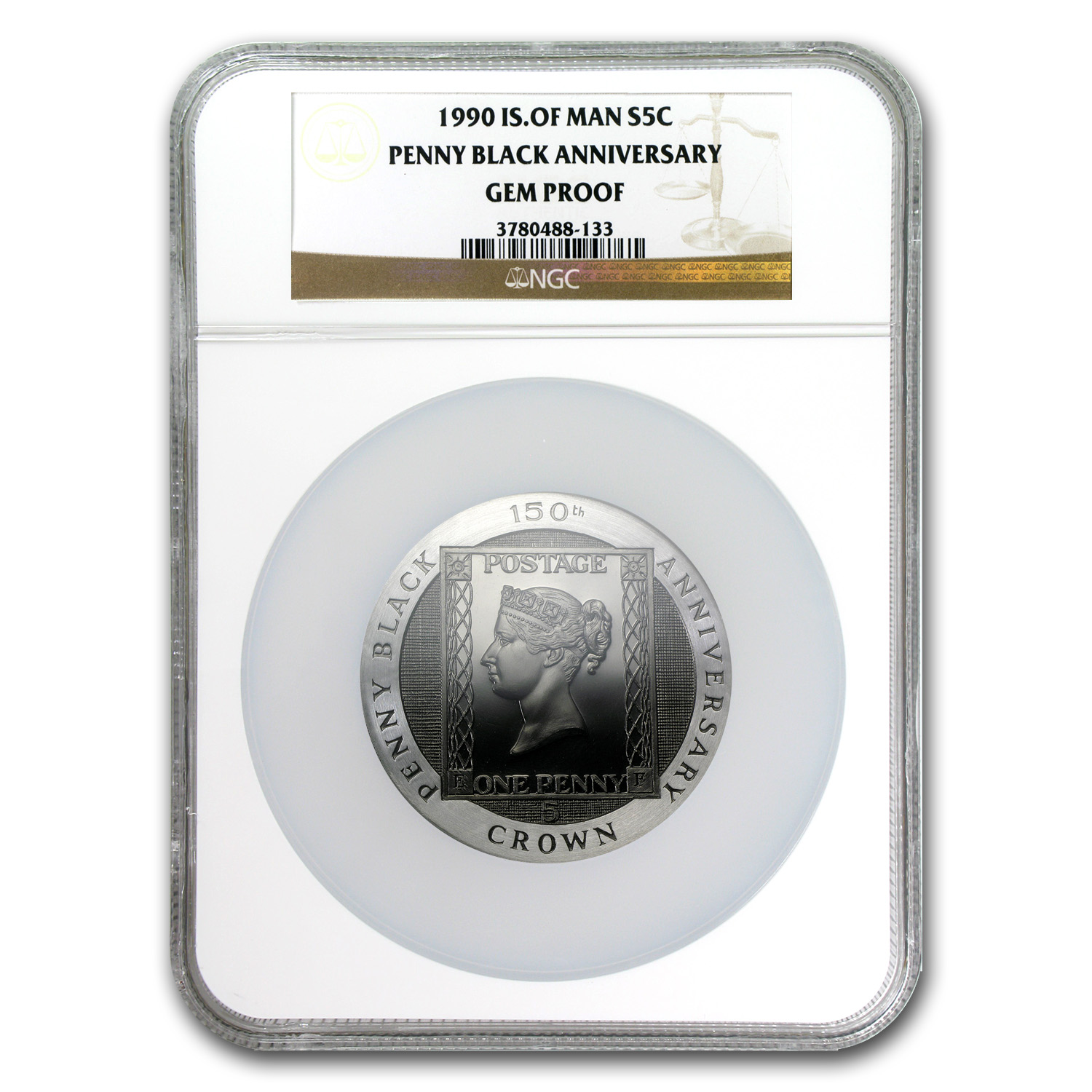 1990 Isle of Man Silver 5 Crown Penny Black Gem Proof NGC