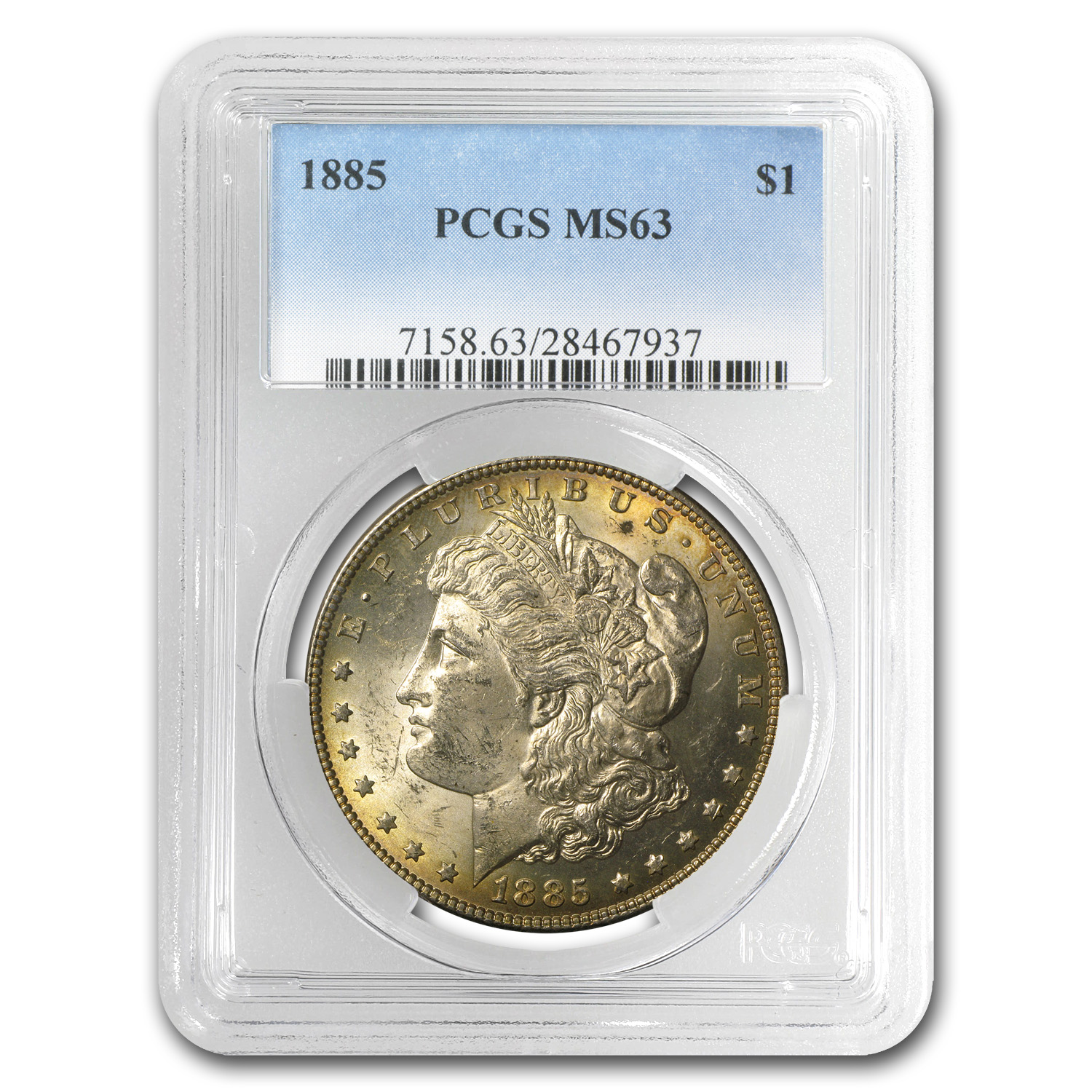 1885 Morgan Dollar MS-63 PCGS (Cerulean Toning)