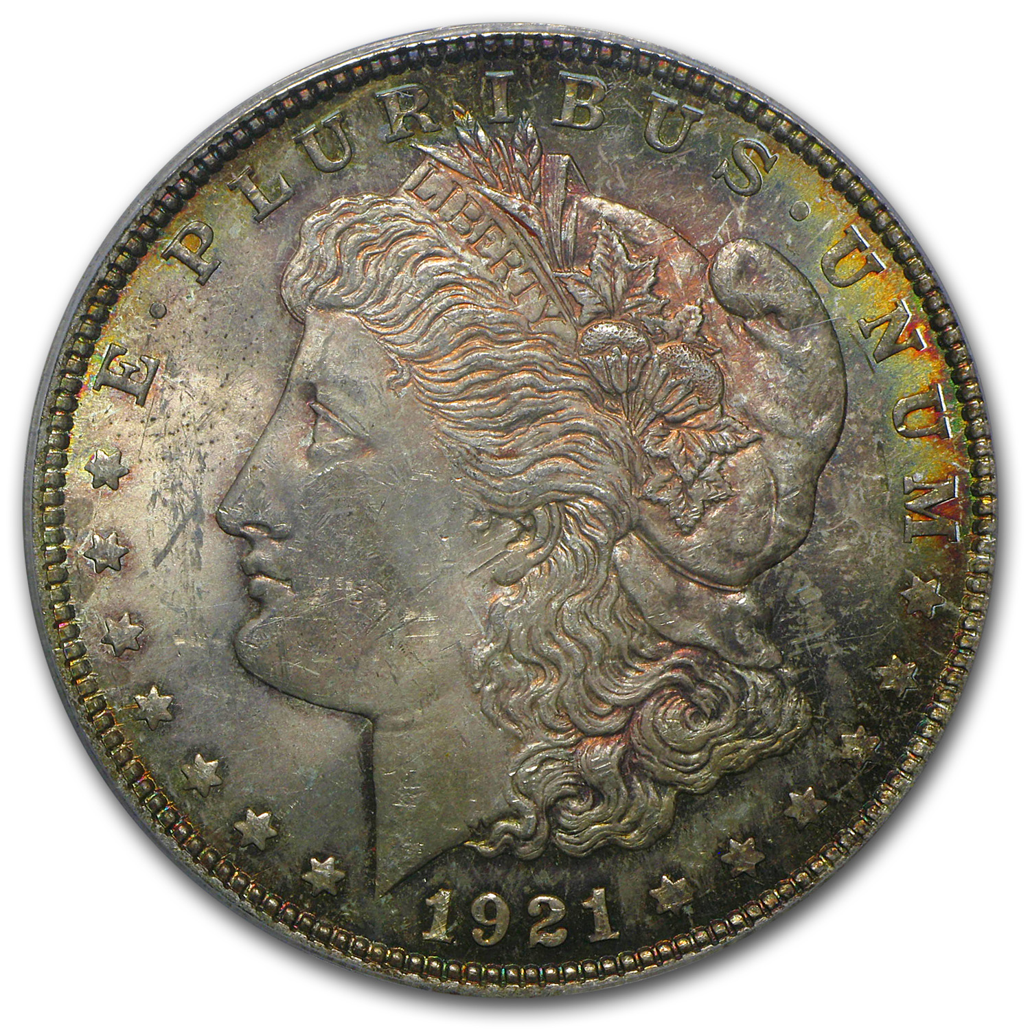 1921 Morgan Dollar - MS-62 PCGS (Phoenix Toning) CAC