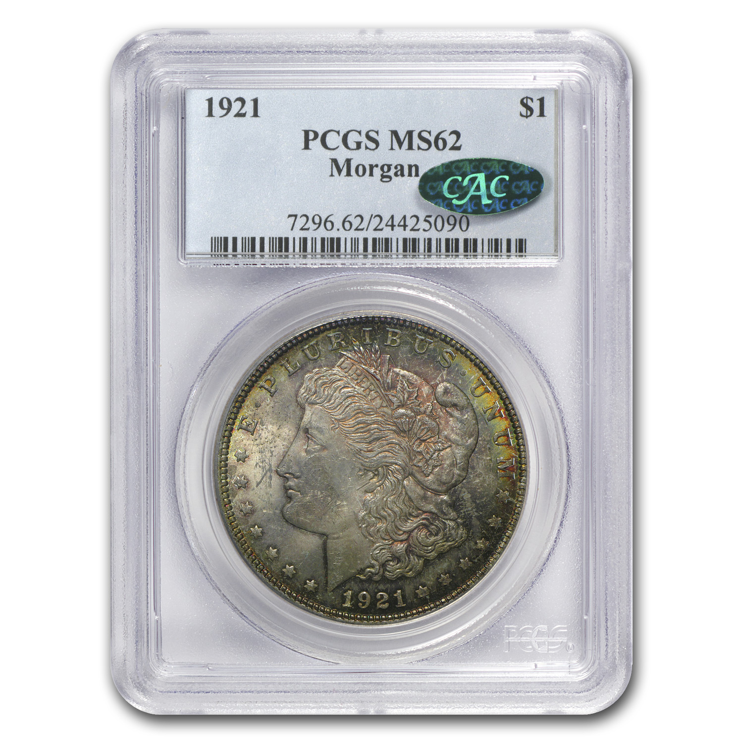 1921 Morgan Dollar MS-62 PCGS (CAC, Phoenix Toning)