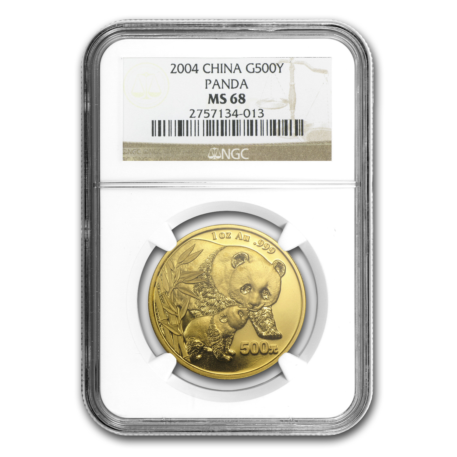 2004 China 1 oz Gold Panda MS-68 NGC
