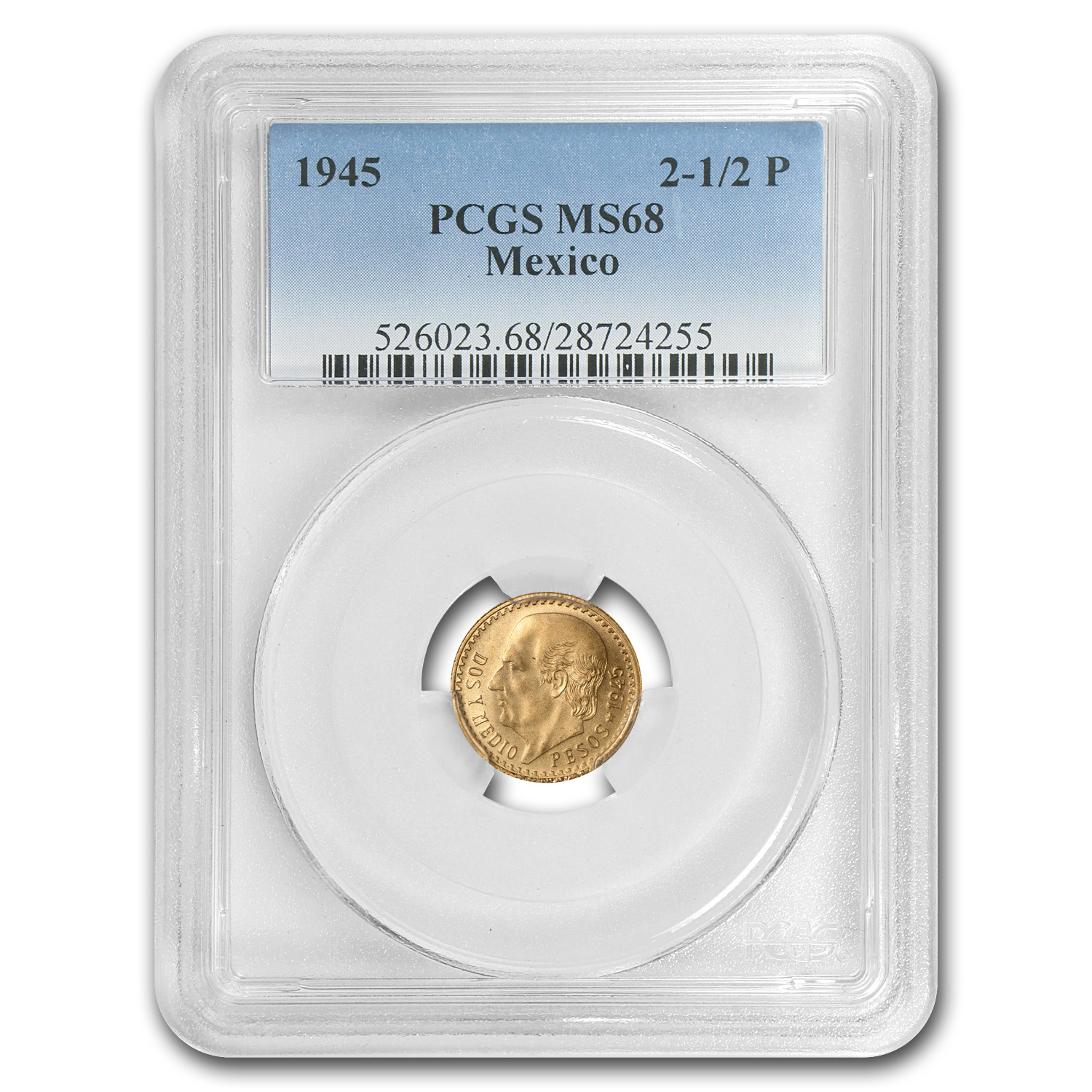 1945 Mexico Gold 2 1/2 Pesos MS-68 PCGS