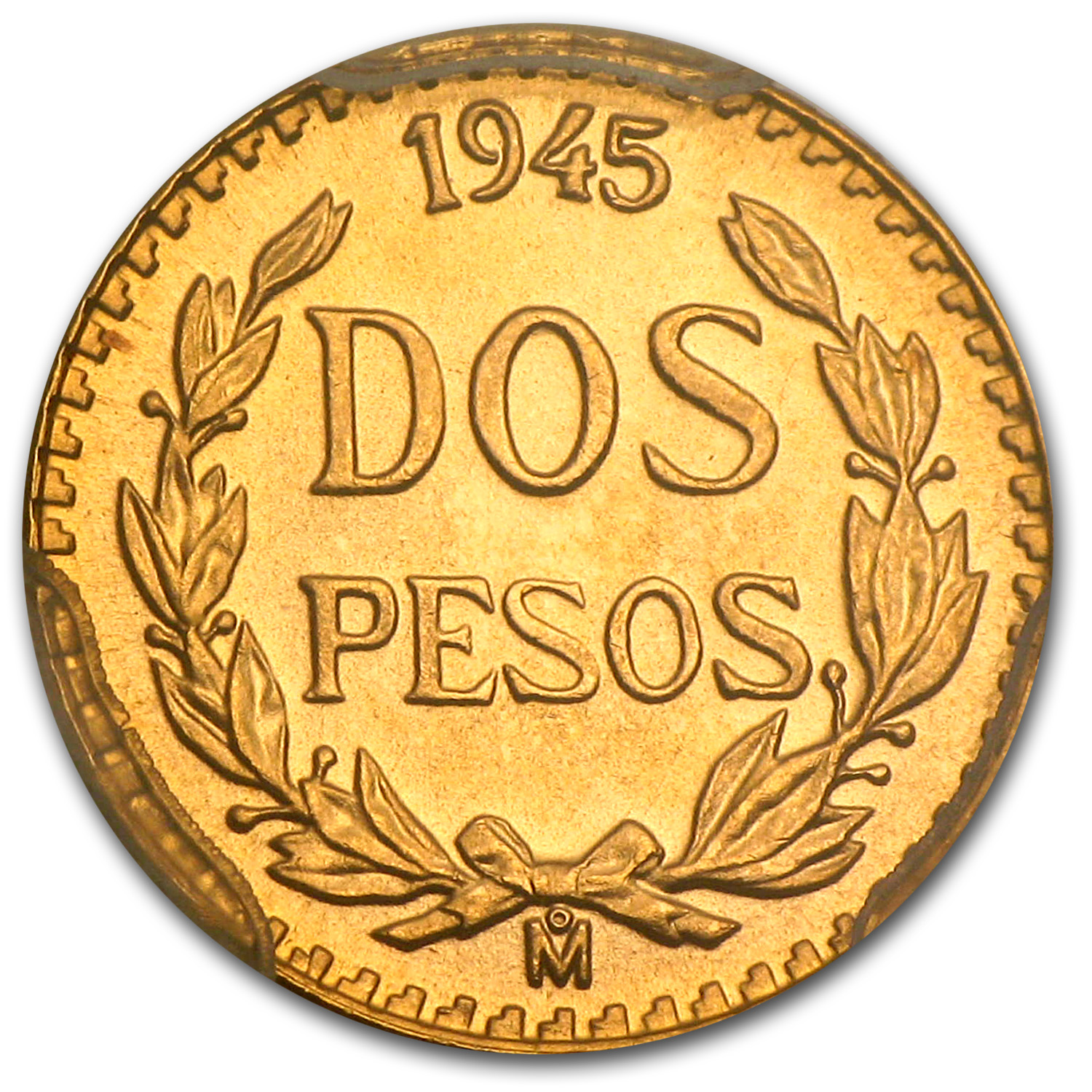 Mexico 1945 2 Pesos Gold Coin - MS-68 PCGS