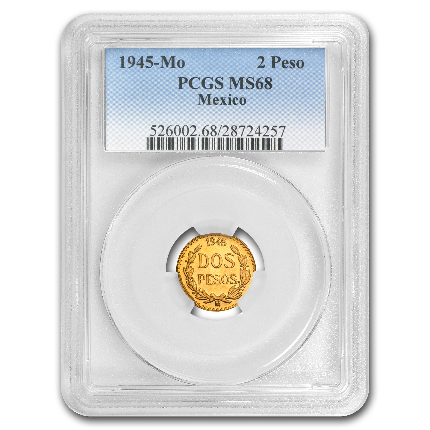 1945 Mexico Gold 2 Pesos MS-68 PCGS