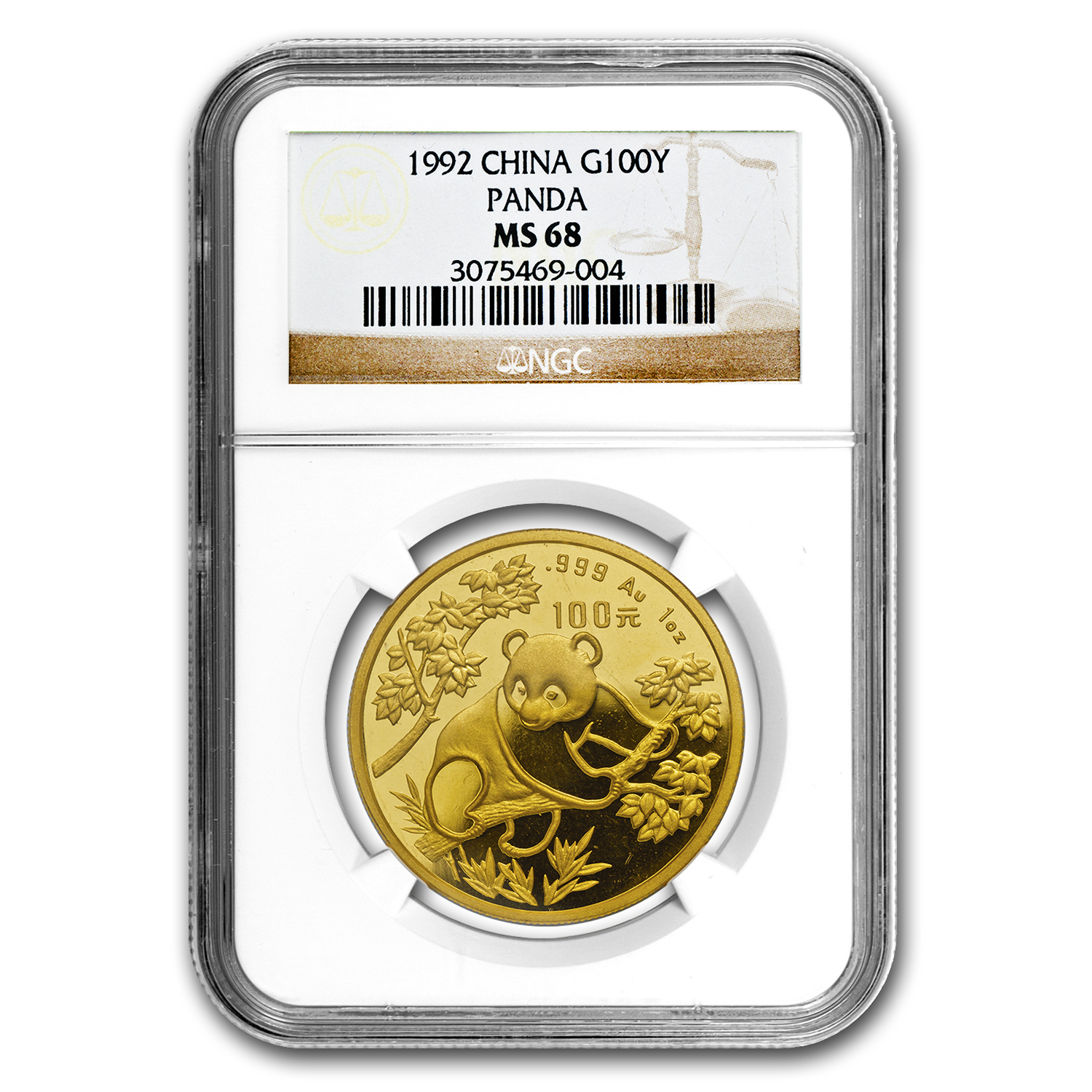 1992 China 1 oz Gold Panda Small Date MS-68 NGC