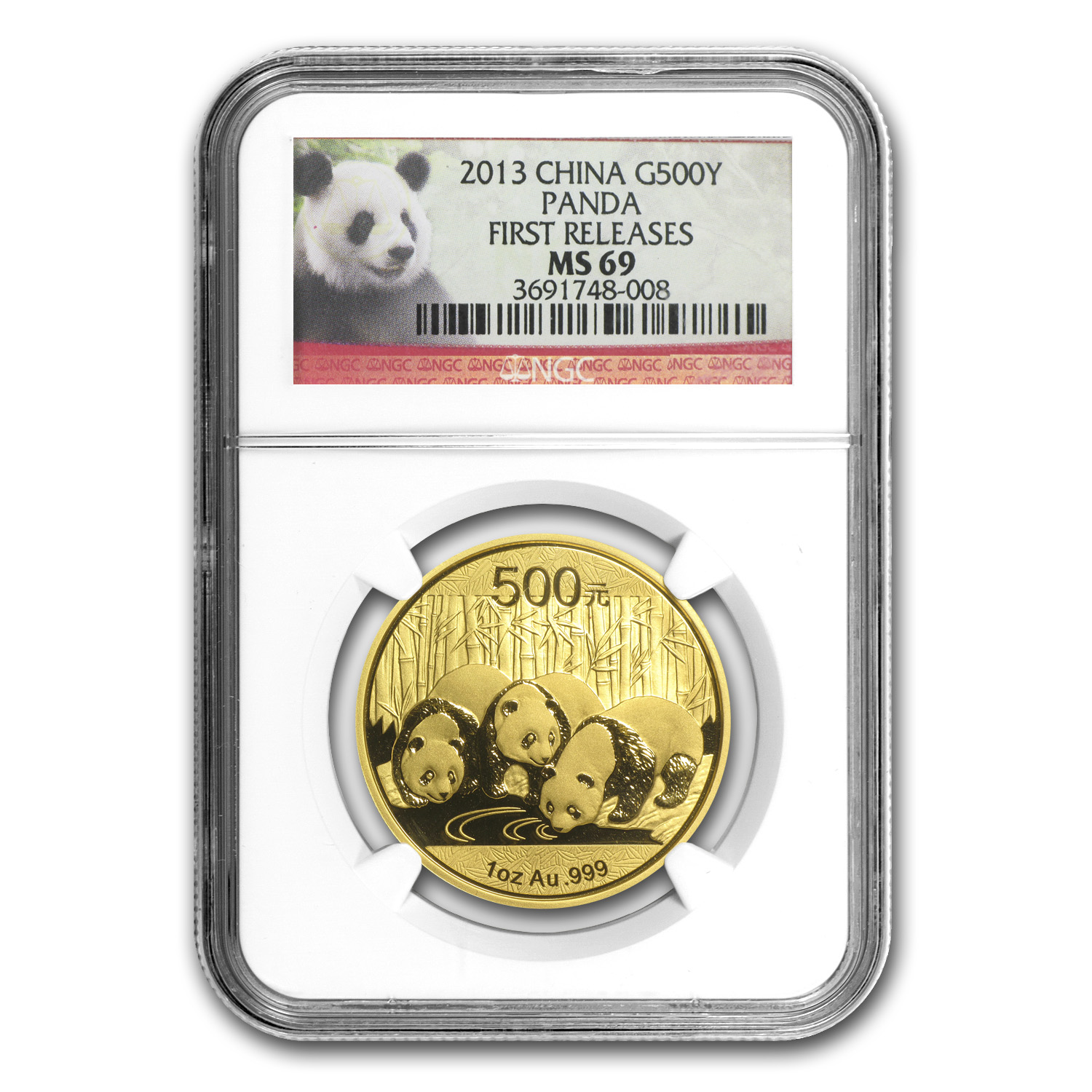 2013 China 1 oz Gold Panda MS-69 NGC (First Release)