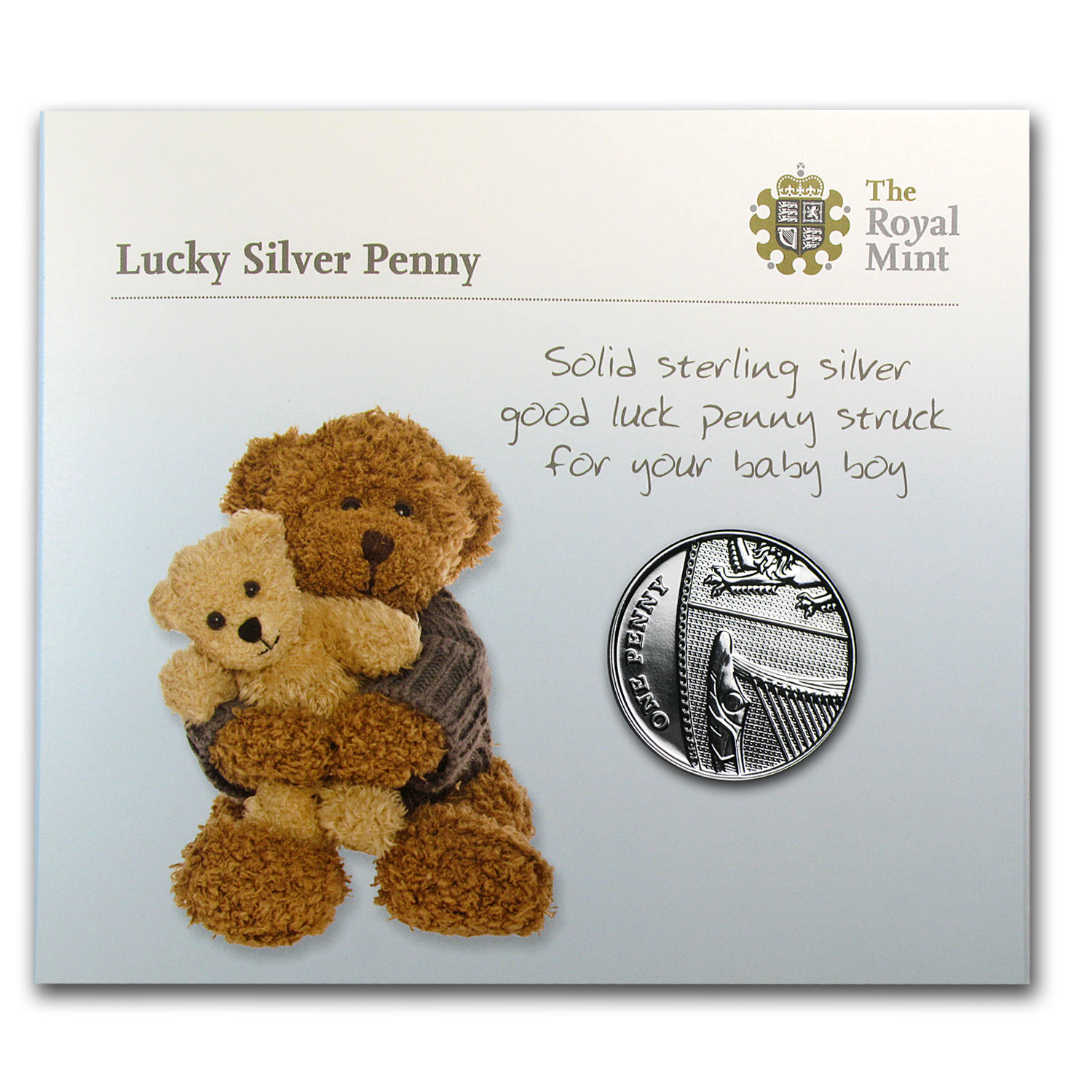 2014 United Kingdom Silver Lucky Penny (Blue for Boys)