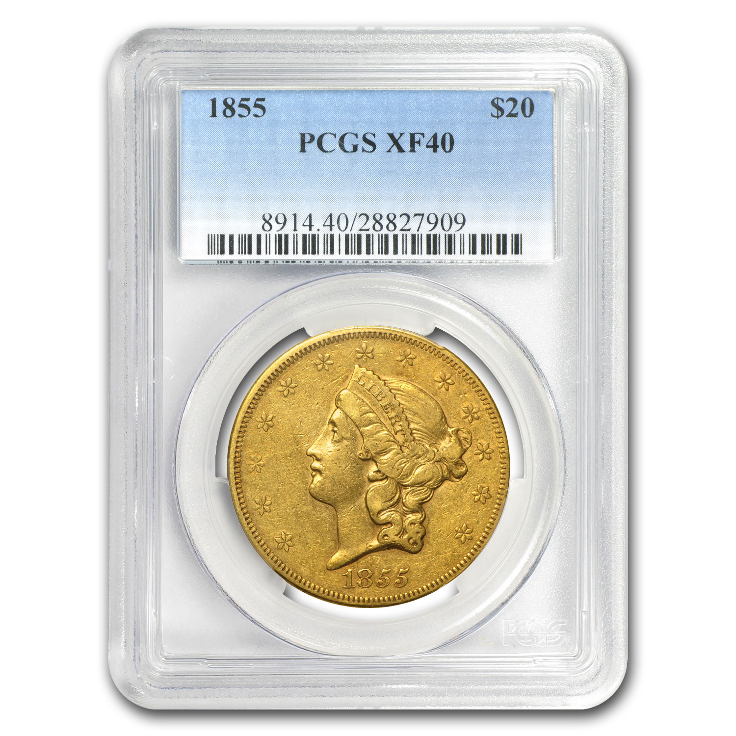 1855 $20 Gold Liberty Double Eagle - XF-40 PCGS