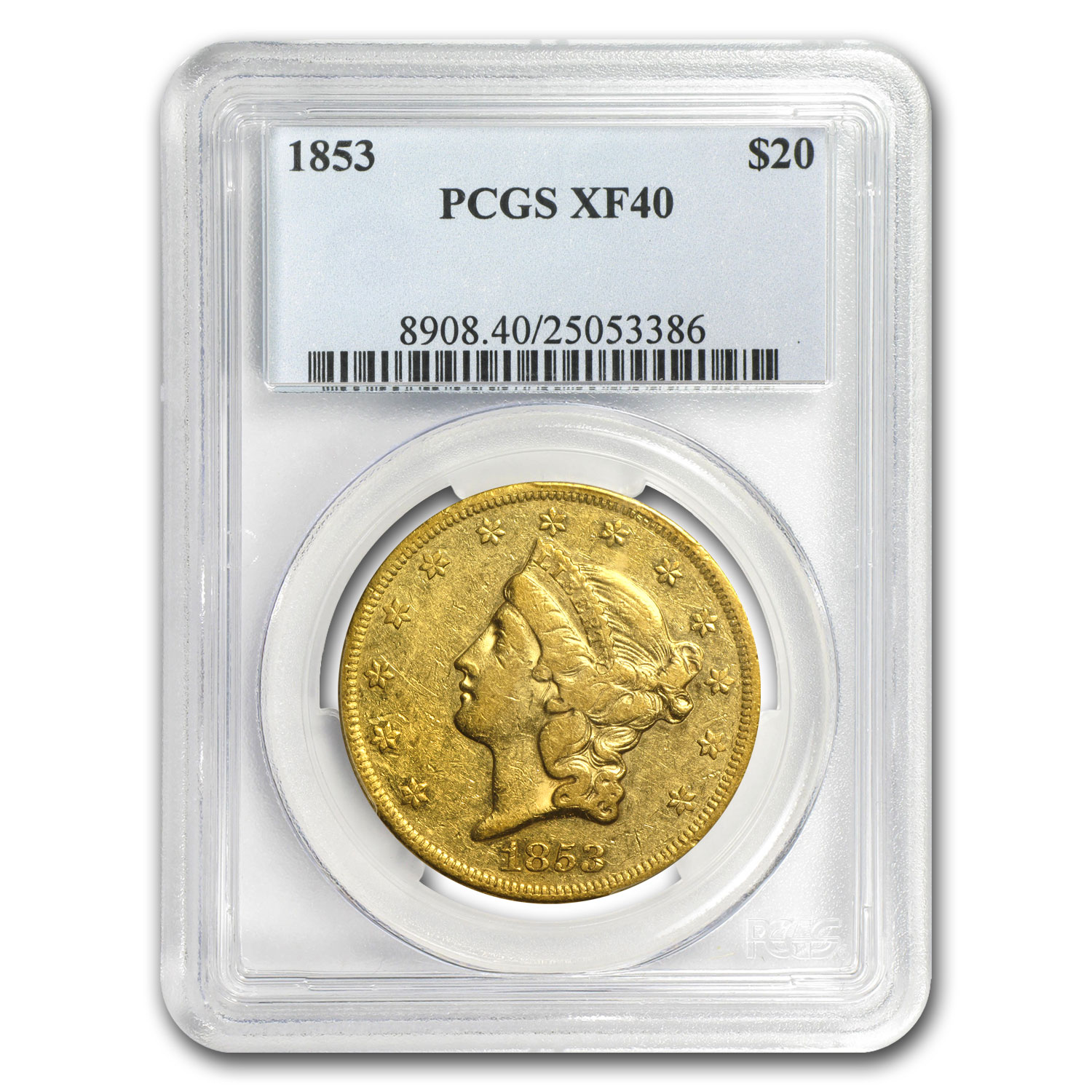 1853 $20 Gold Liberty Double Eagle - XF-40 PCGS