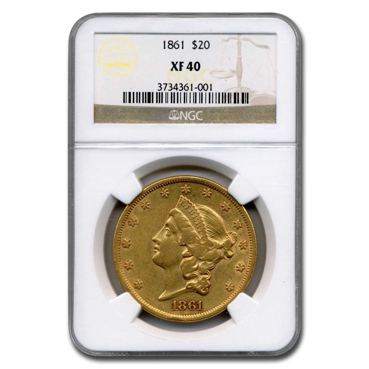 1861 $20 Liberty Gold Double Eagle XF-40 NGC
