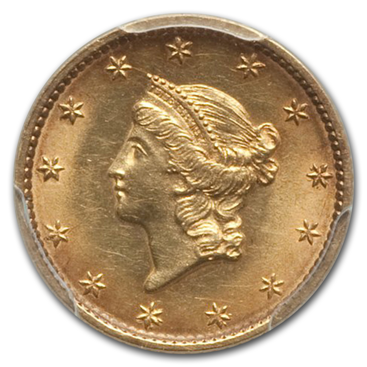 1849 $1 Liberty Gold Small Head Open Wreath No L MS-62 PCGS