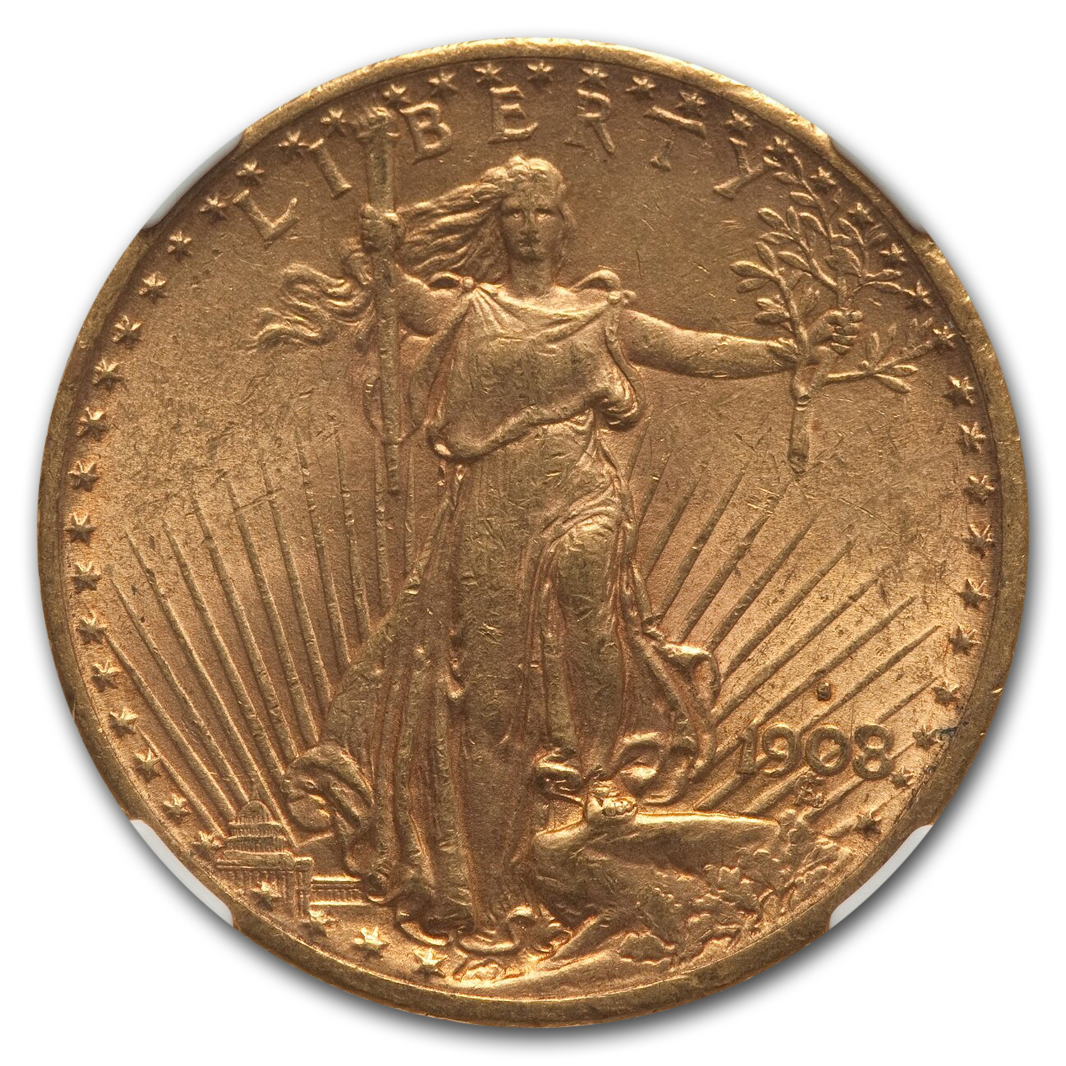 1908-S $20 St. Gaudens Gold Double Eagle - MS-61 NGC