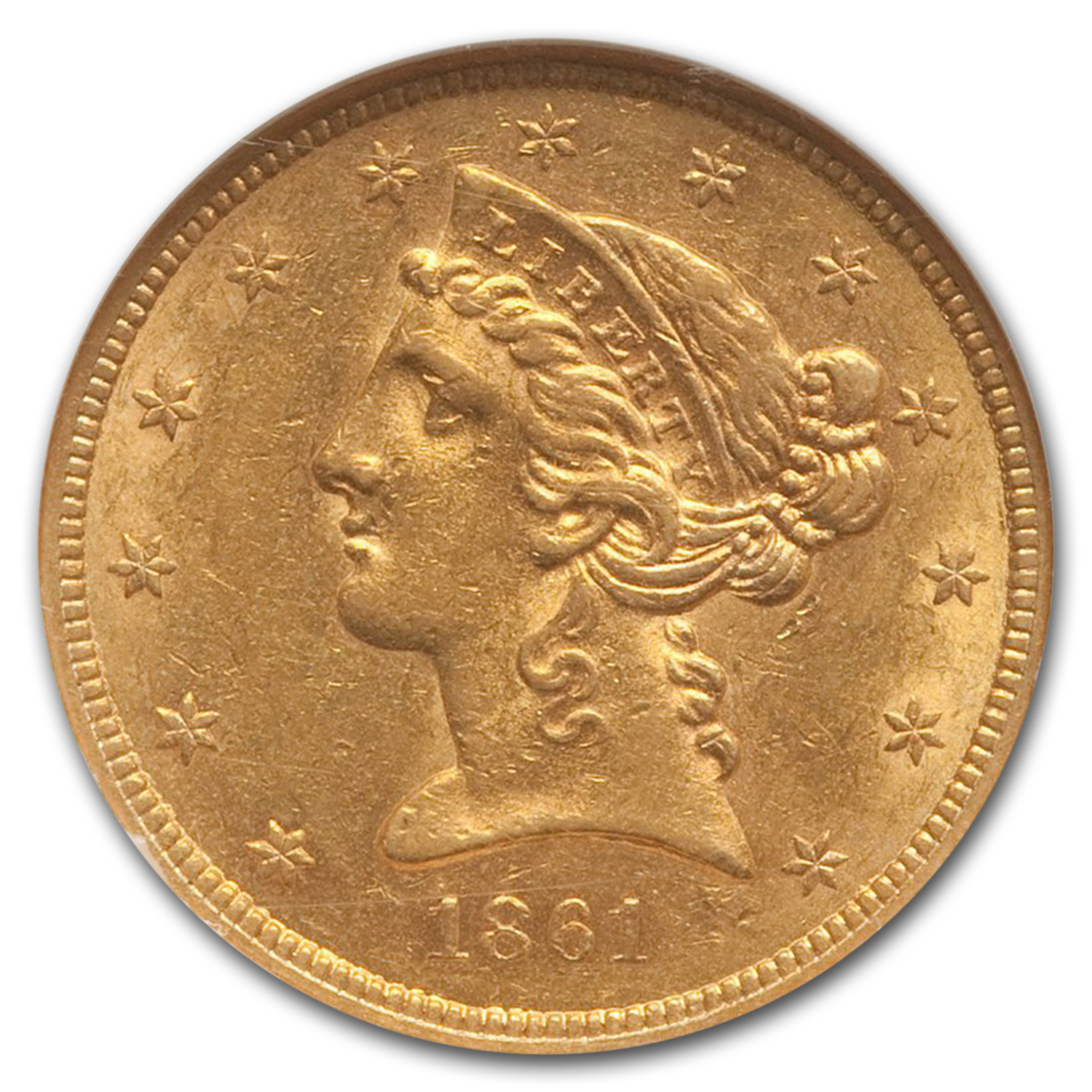 1861 $5 Liberty Gold Half Eagle - AU-58 NGC