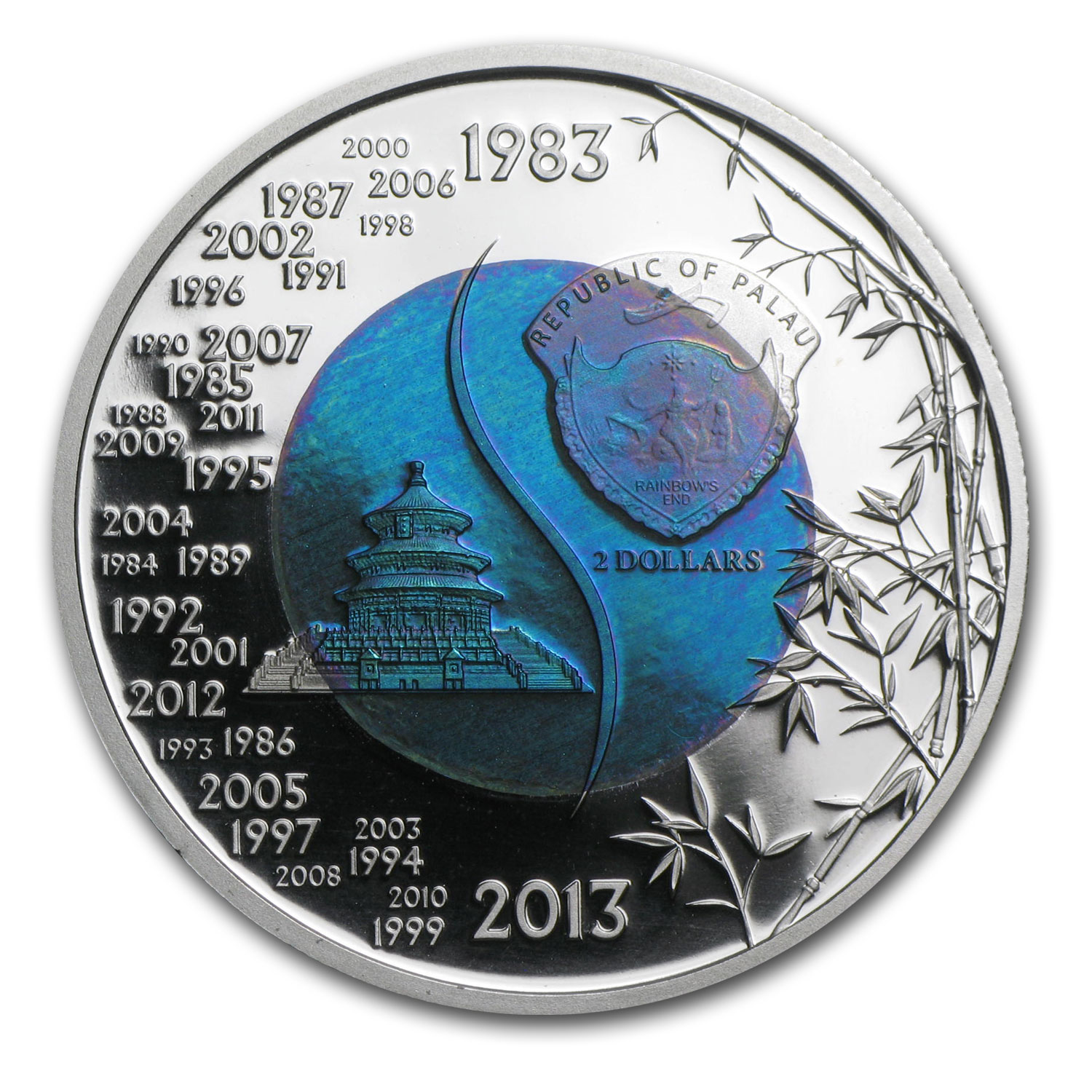 Palau 2013 $2 Silver Niobium 30th Anniversary of China Panda Coin
