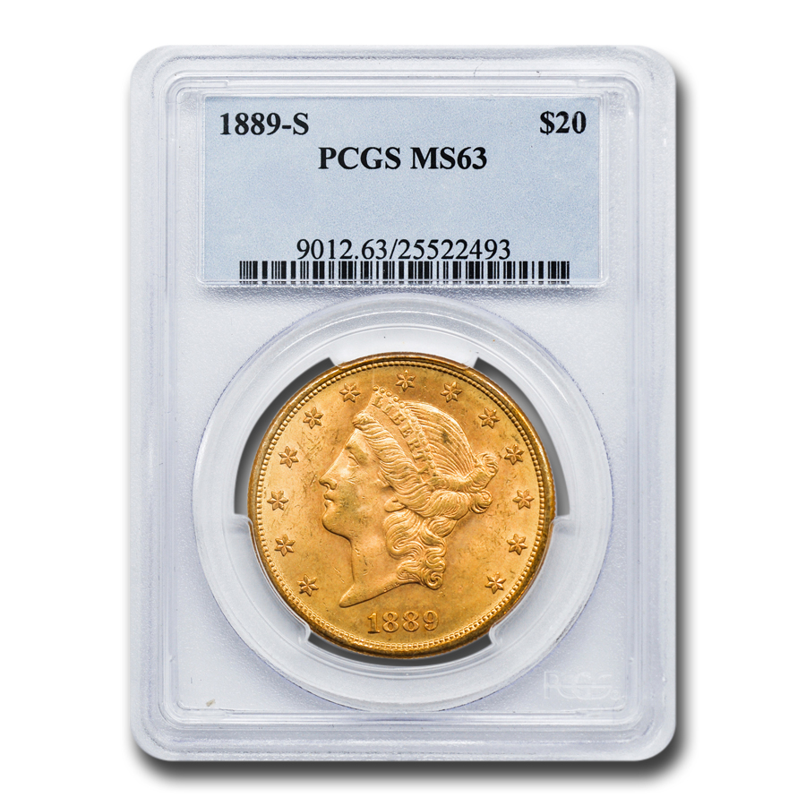 1889-S $20 Gold Liberty Double Eagle - MS-63 PCGS