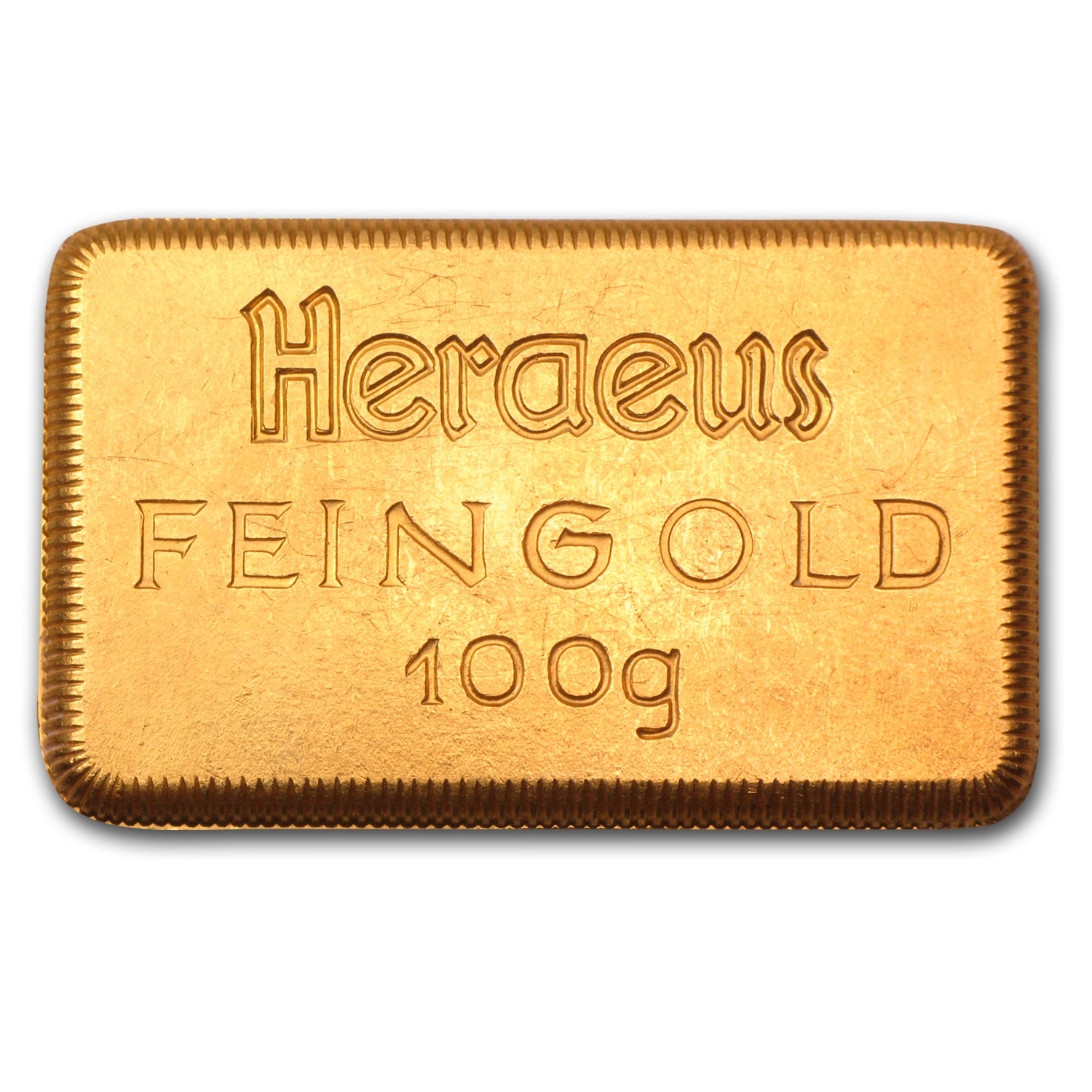 100 gram Gold Bars - Heraeus (Stamped)